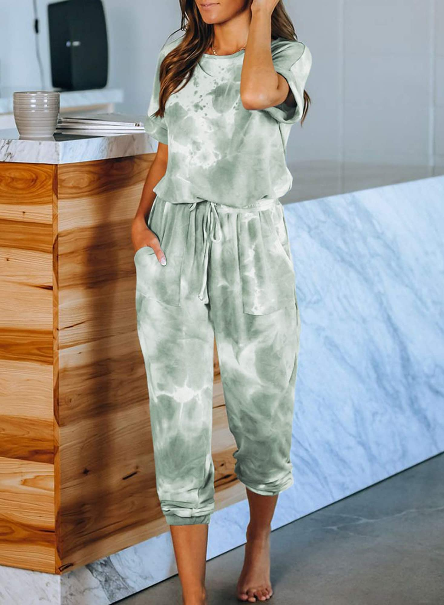 Tie-Dye Long Pajamas Set One Piece Jumpsuit Loose Sleepwear For Women