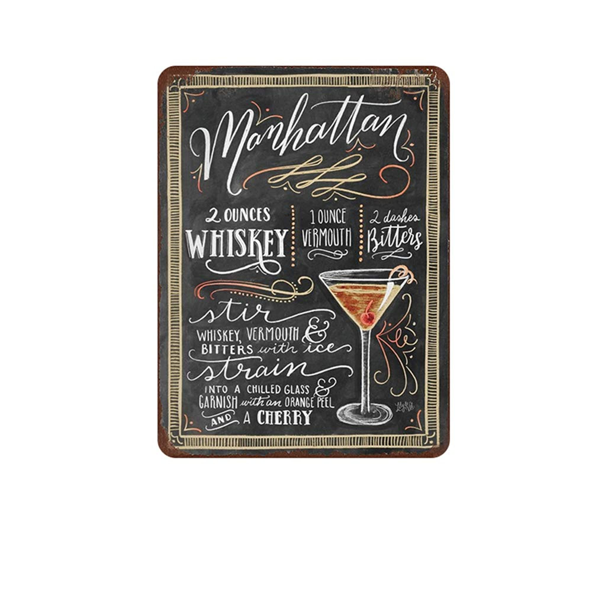Cocktail Metal Sign Plaque Wall Decor