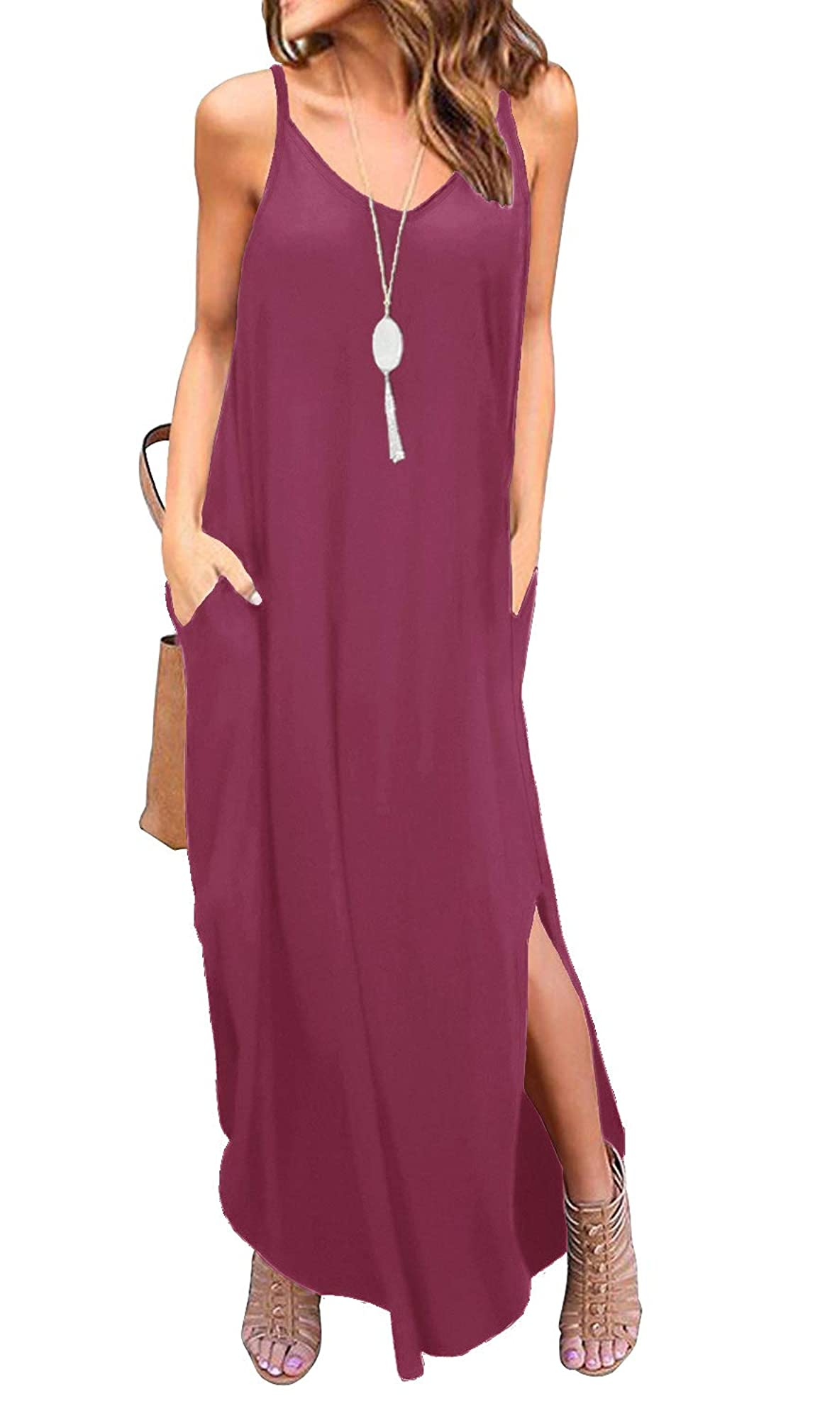Long Cami Maxi Dresses With Pocket