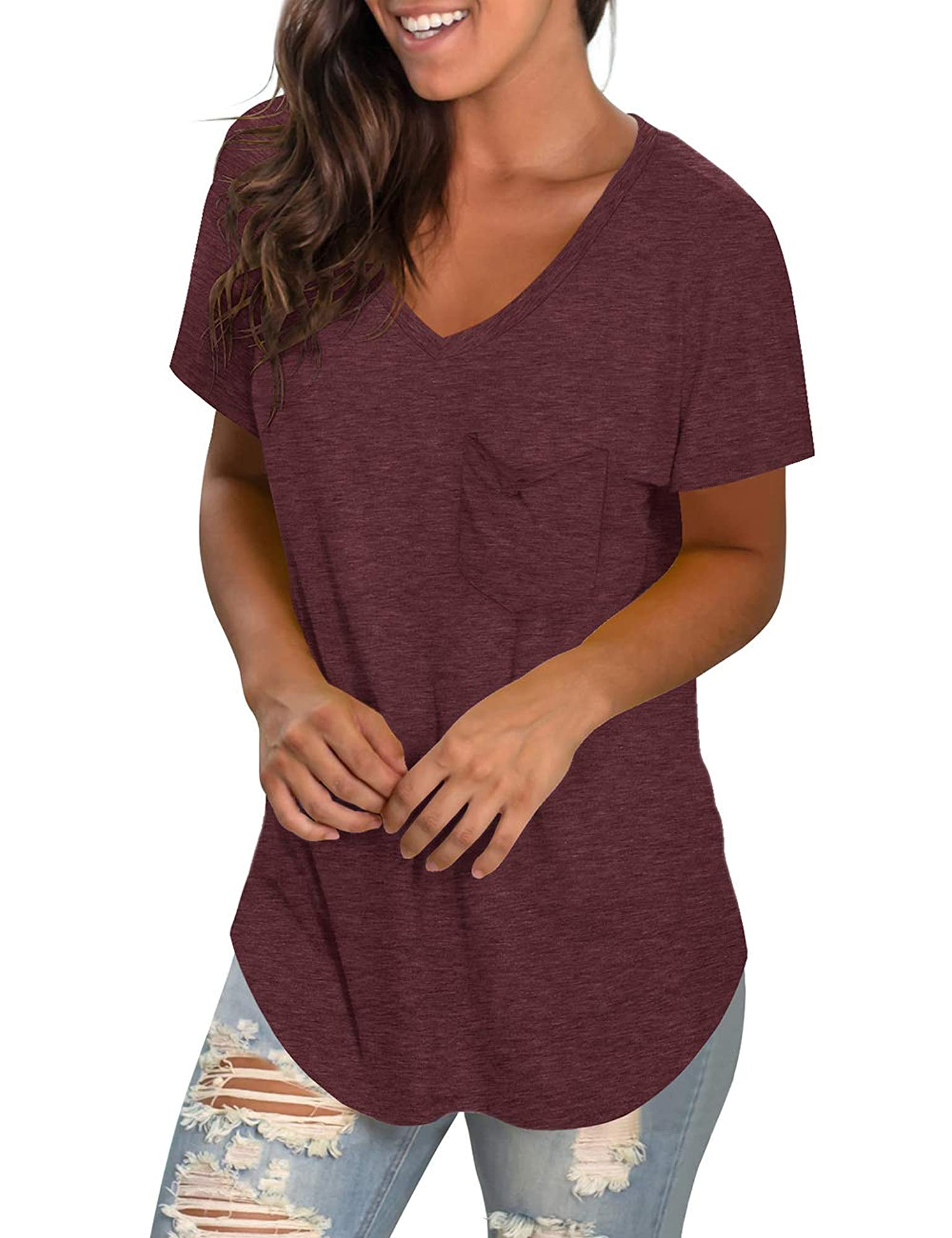 Women's Loose Fit V-Neck Short Sleeve T-Shirts With Pocket