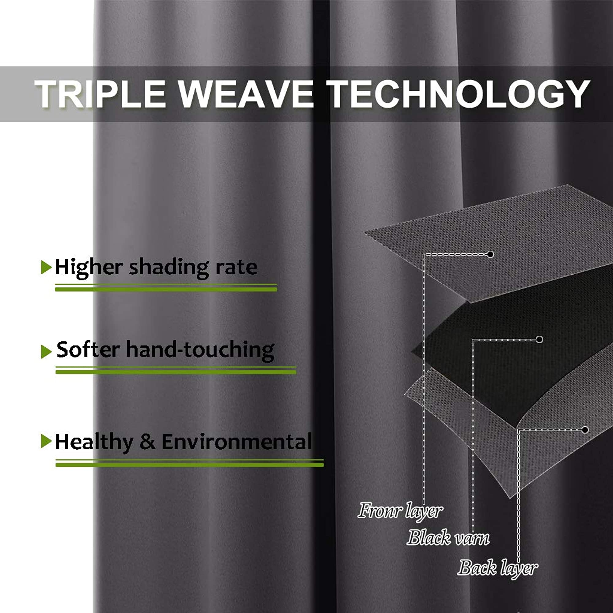 Triple Weave Microfiber Thermal Insulated Blackout Curtains