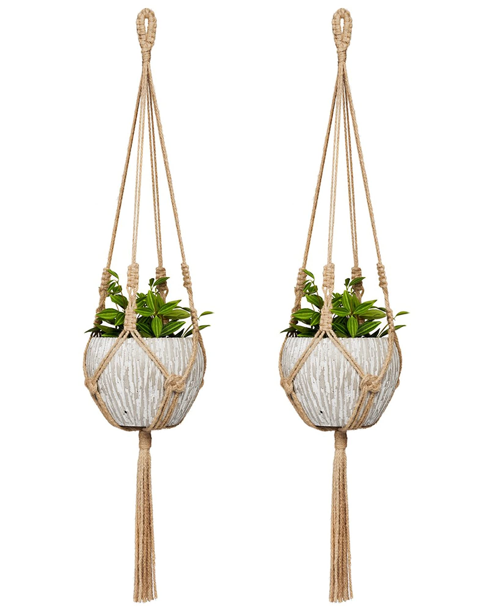 Jute Hanging Pot Holder 30 Inch (Set Of 2) (Pot Not Included)