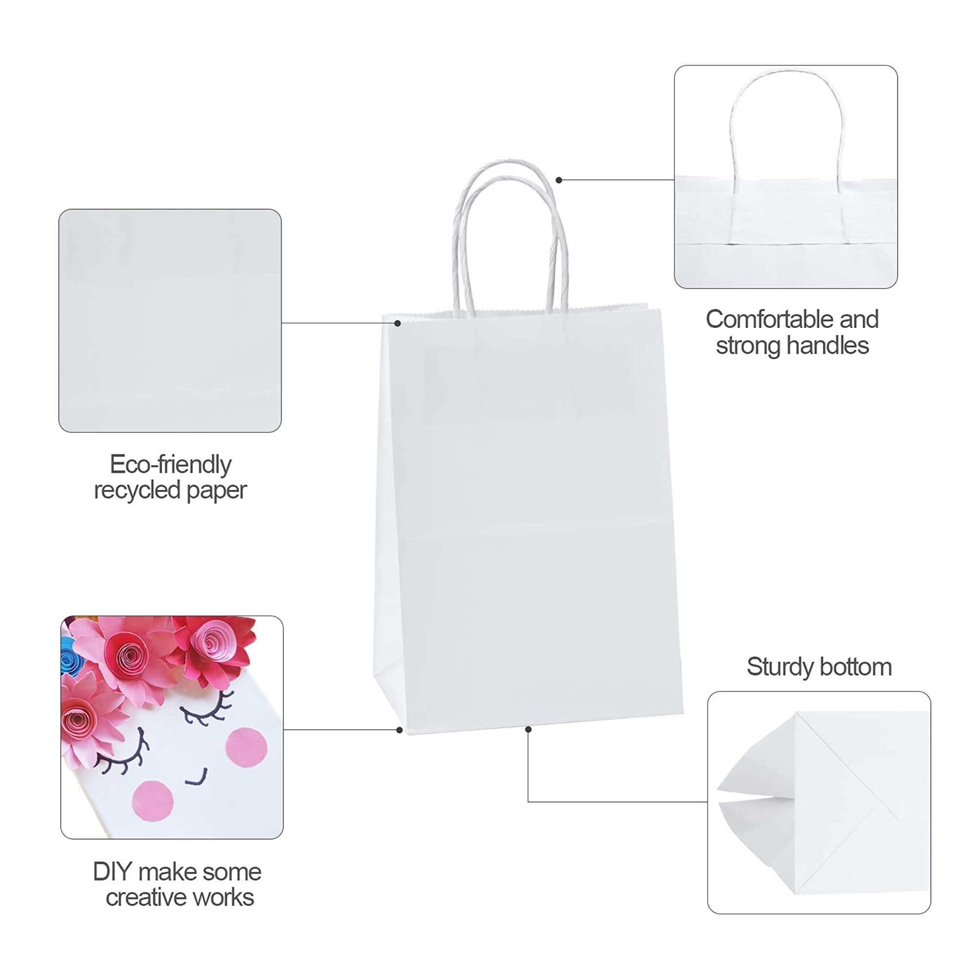 100 Pieces Of White Paper Bags
