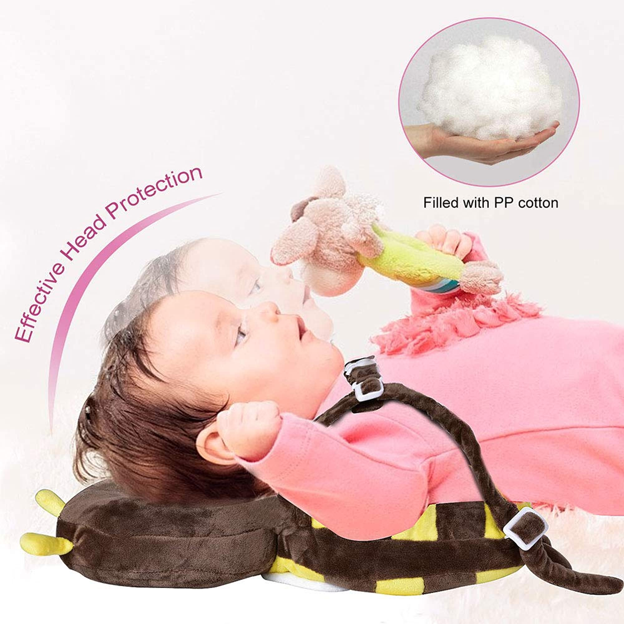 Brown Bee Baby Head Protector With Knee Pads