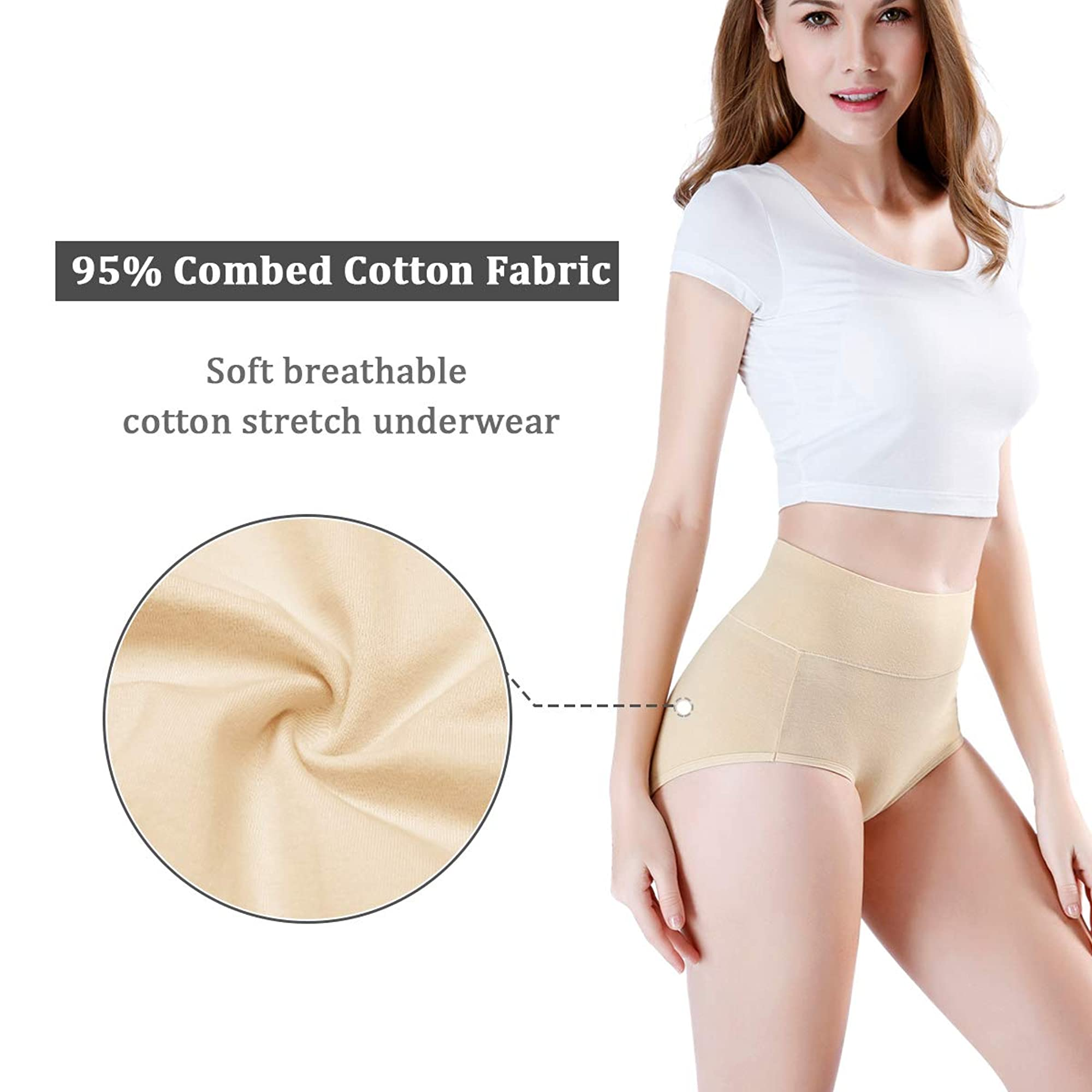 High Waisted Cotton Underwear For Women