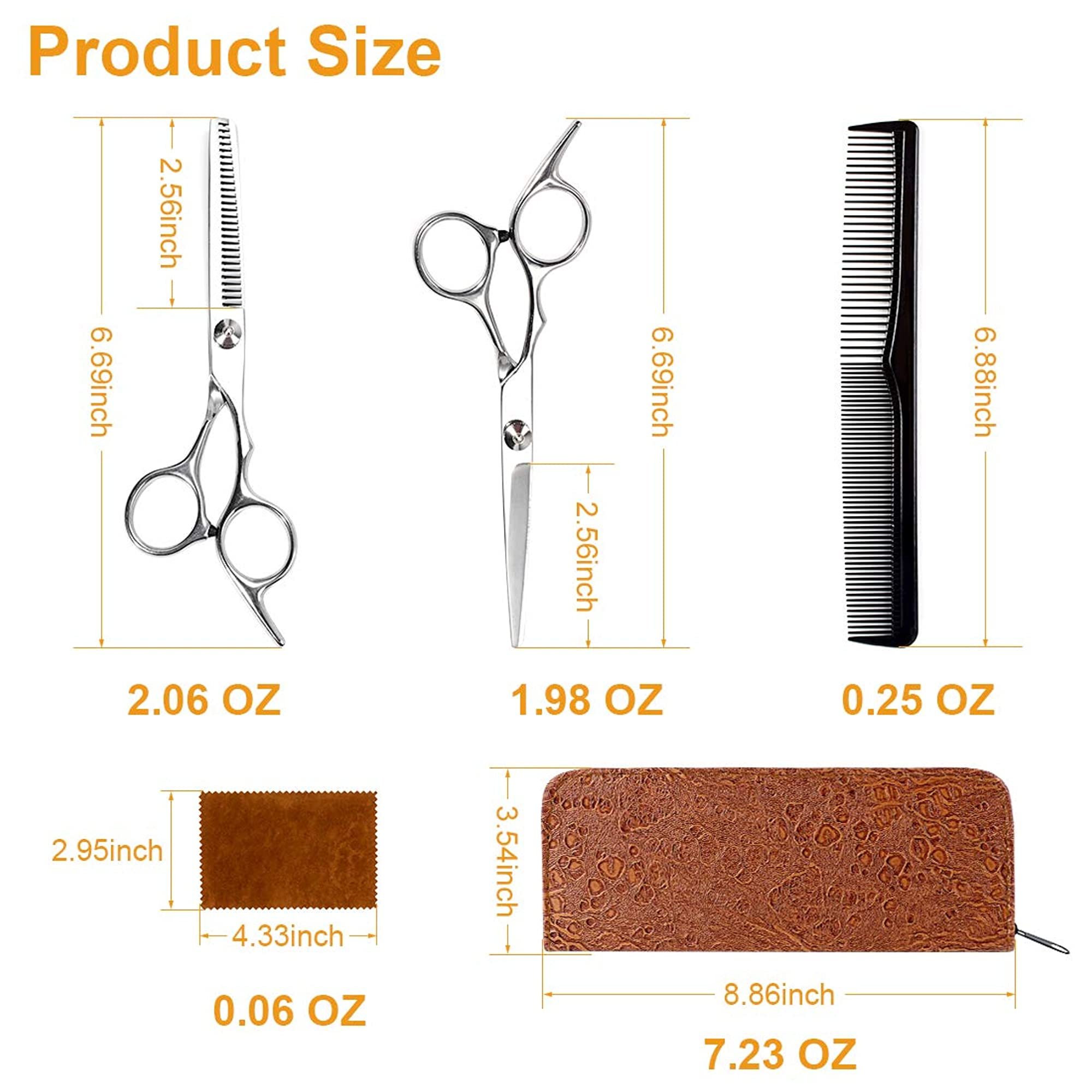 Hairdressing Tool Set With Scissors, Comb, And Leather Case