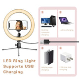 "10"" Led Ring Light With Tripod Stand & Phone Holder."