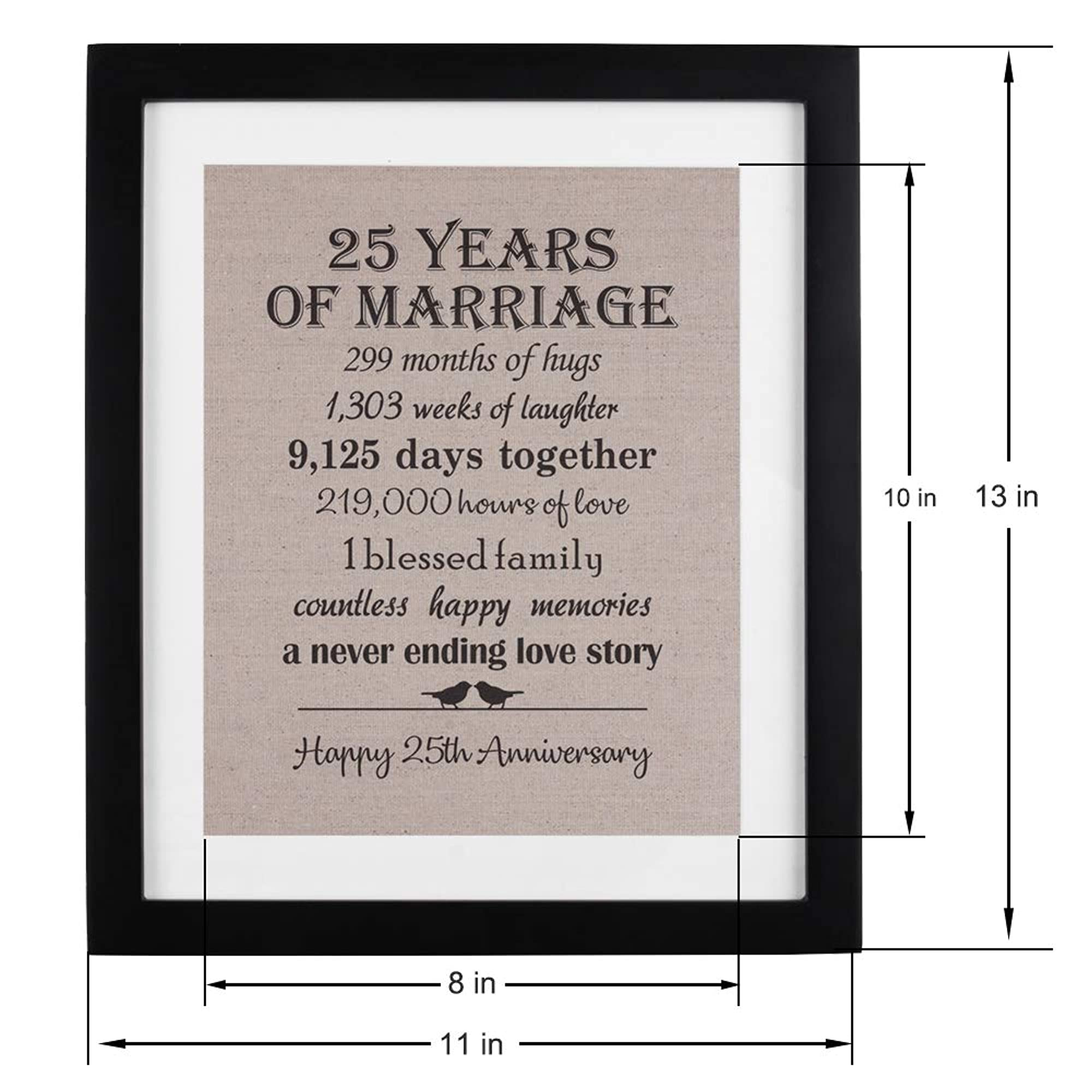 Anniversary Burlap Print With Frame