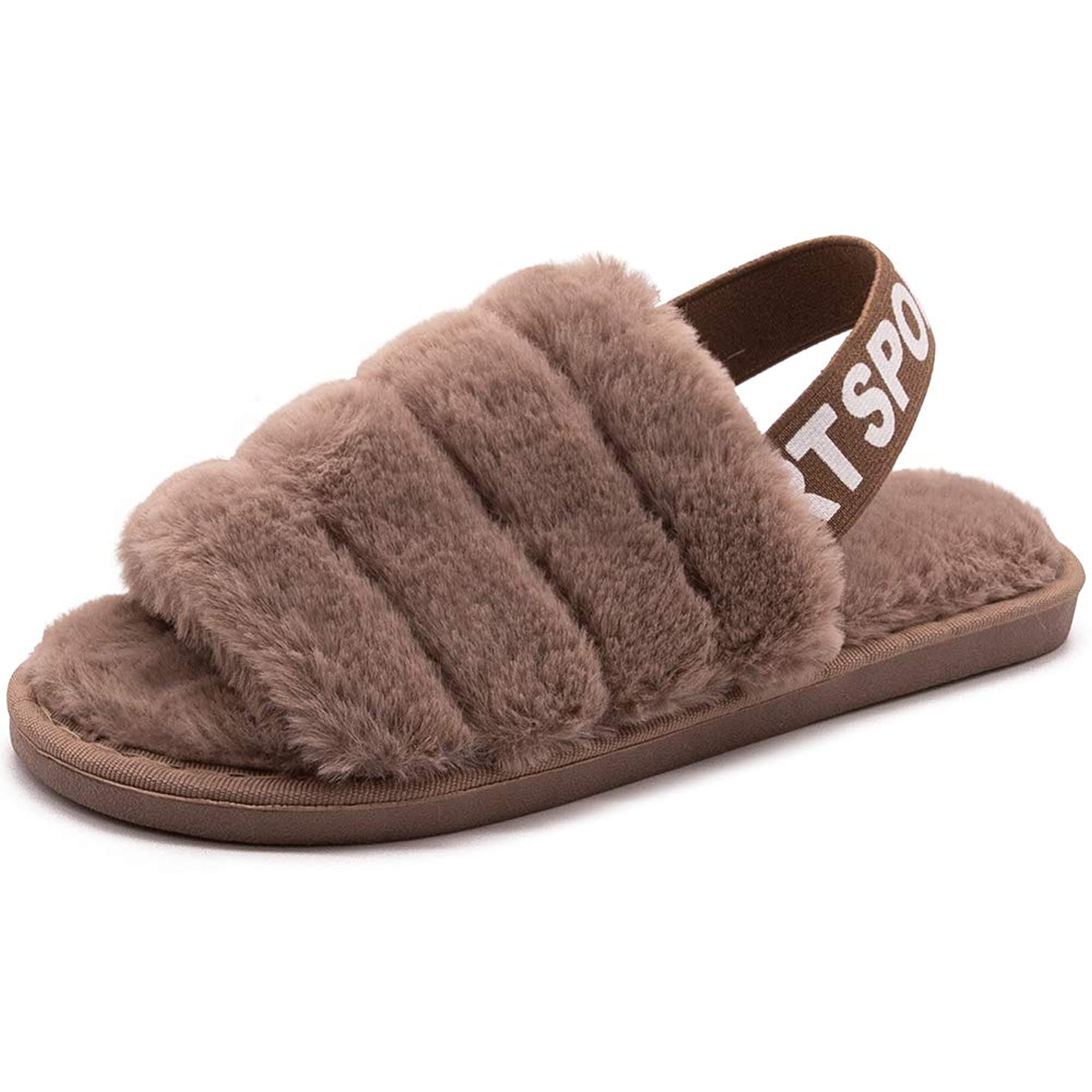 Indoor Fuzzy Slippers With Elastic Strap