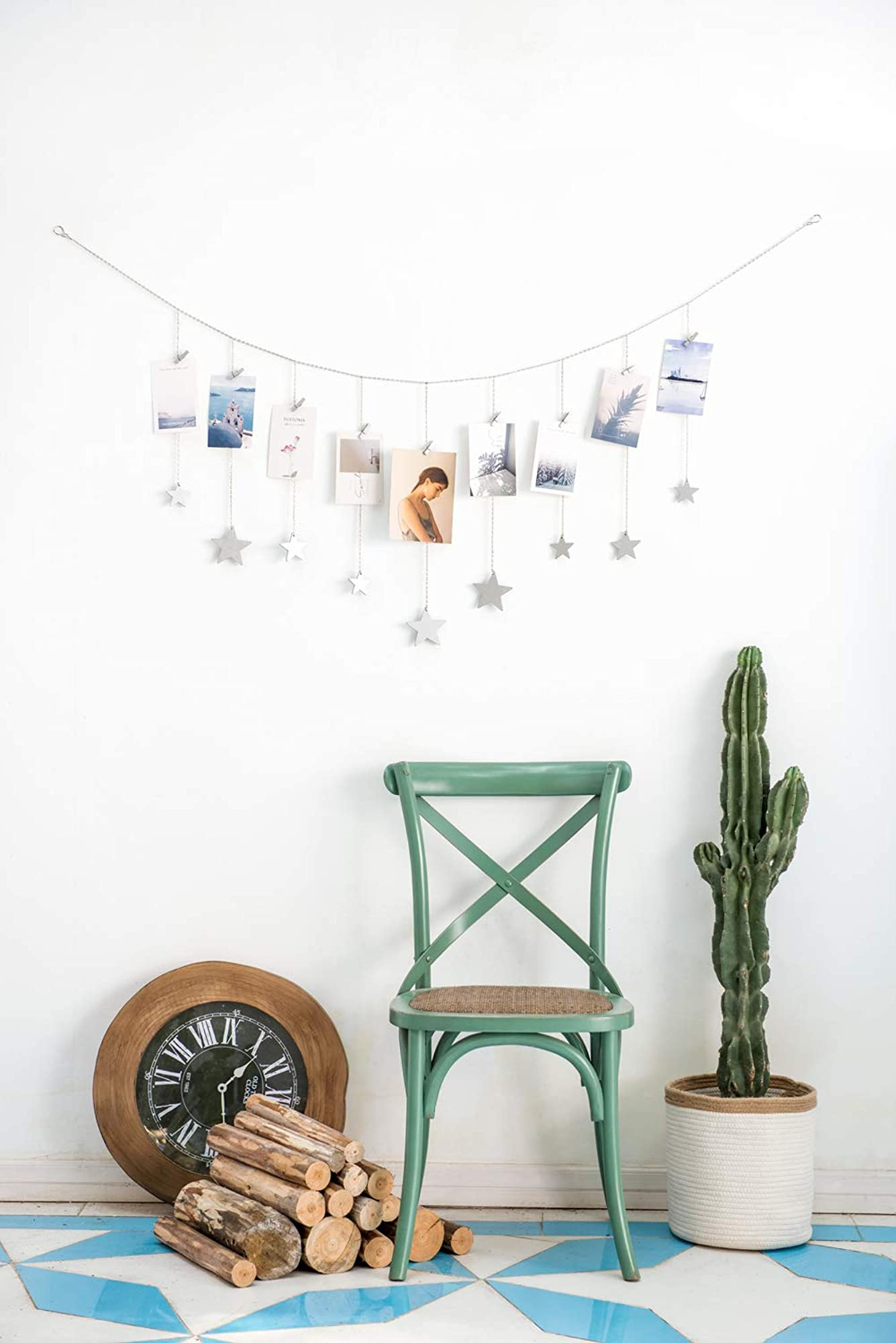 Wood Stars Garland With Chains Picture Frame