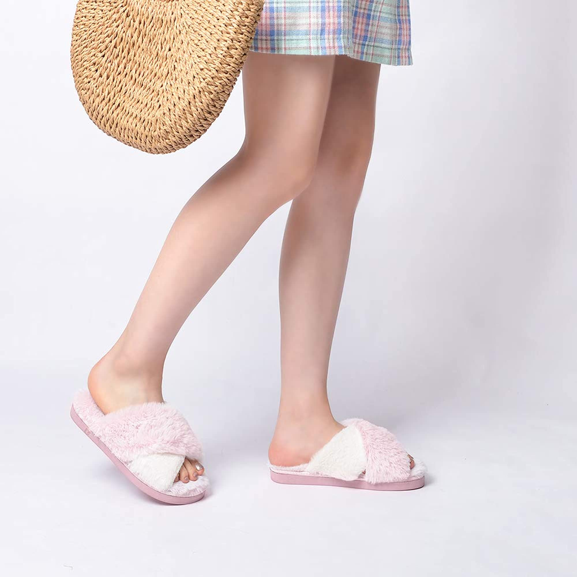 Outdoor Soft Plush Slides Slippers
