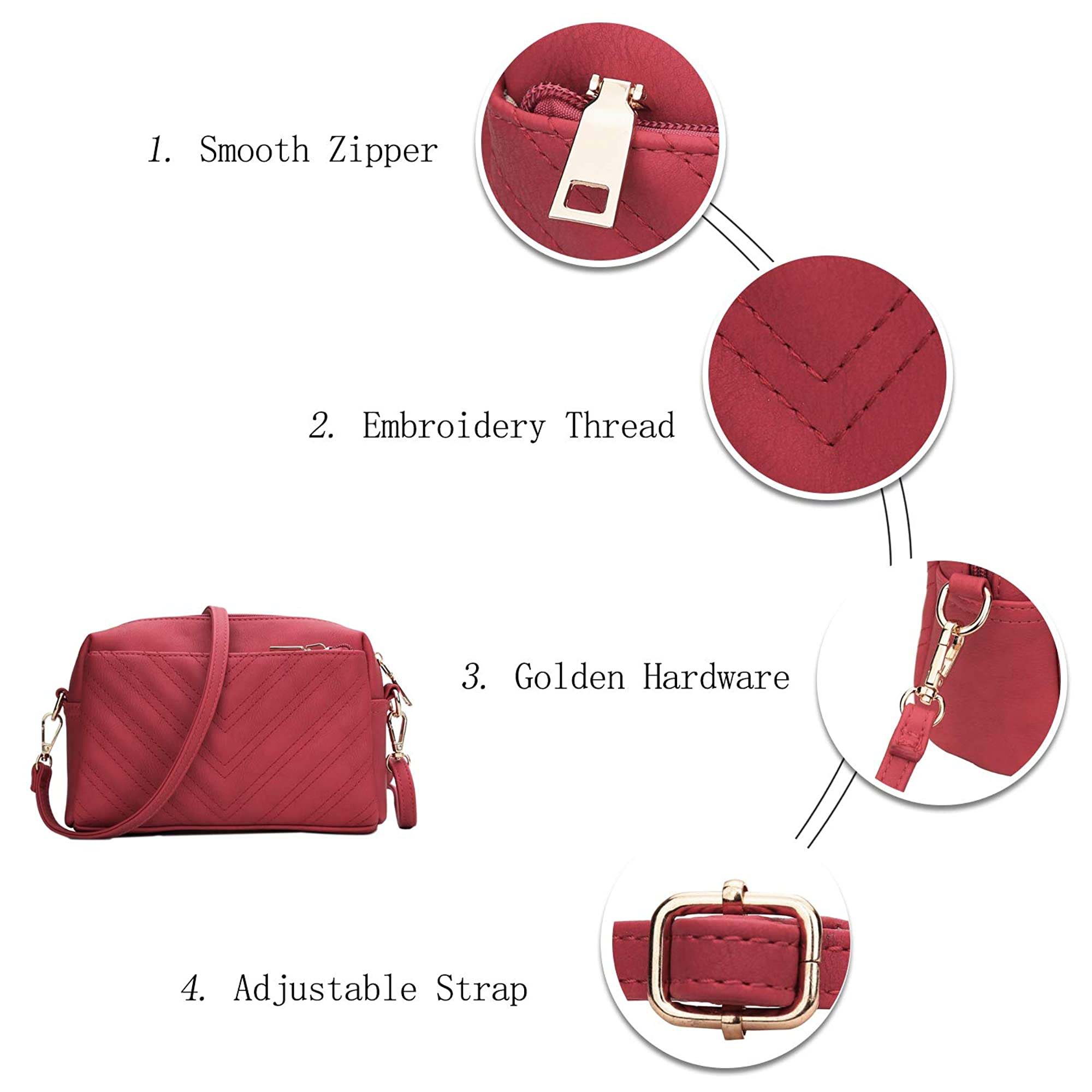 Triple Zip Lightweight Crossbody Bags