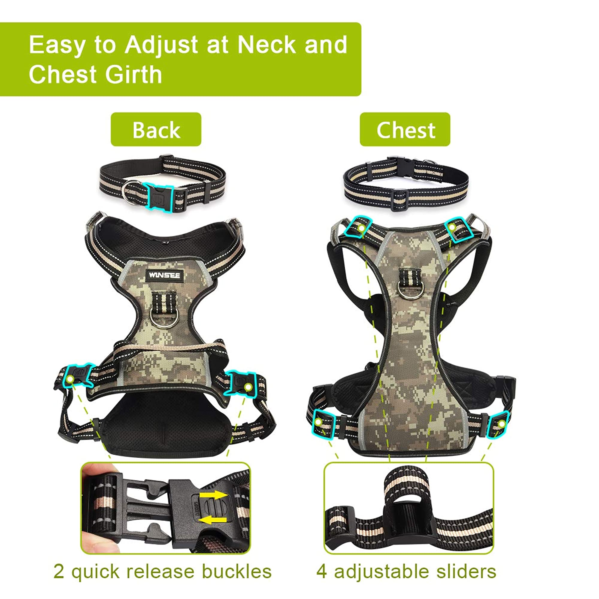 Dog Harness No Pull, Pet Harnesses With Dog Collar