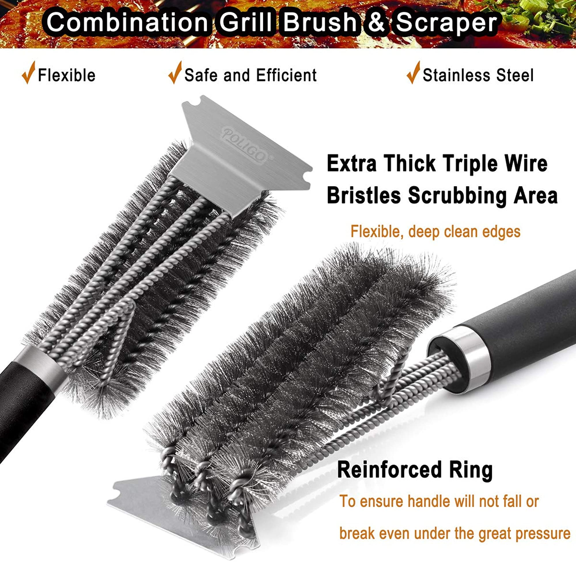 Grill Brush And Scraper With Deluxe Handle