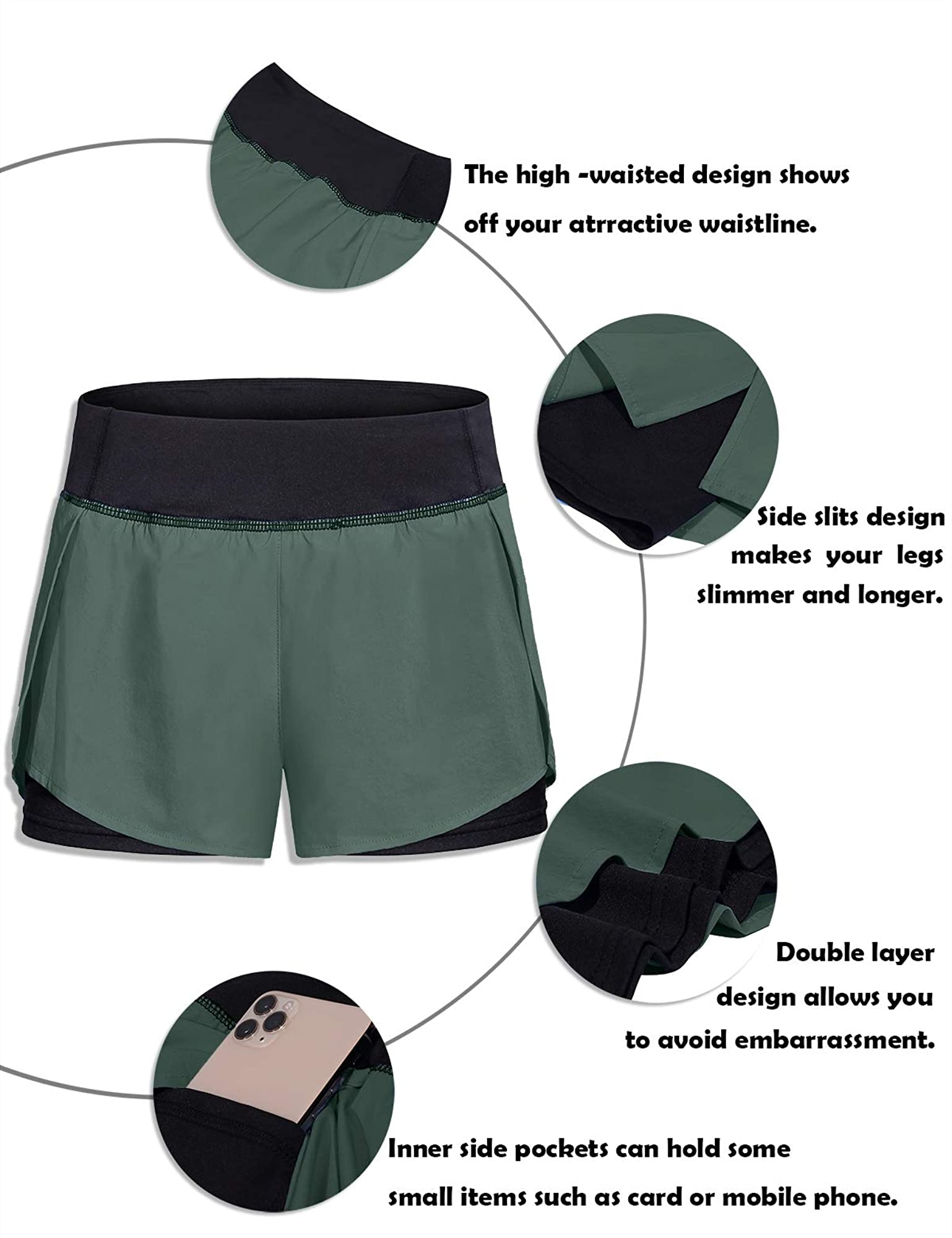 Women Elastic Wasit Workout Shorts With Liner And Pockets
