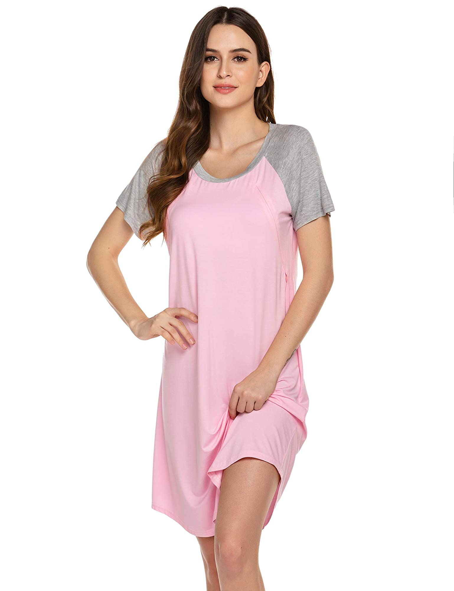 Easy Breast-Feeding Delivery/Labor/Nursing Gown For Women