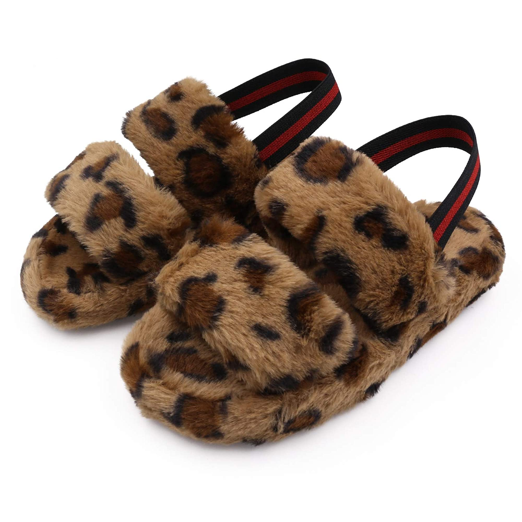 Fluffy Sandals And Slippers With Elastic Strap