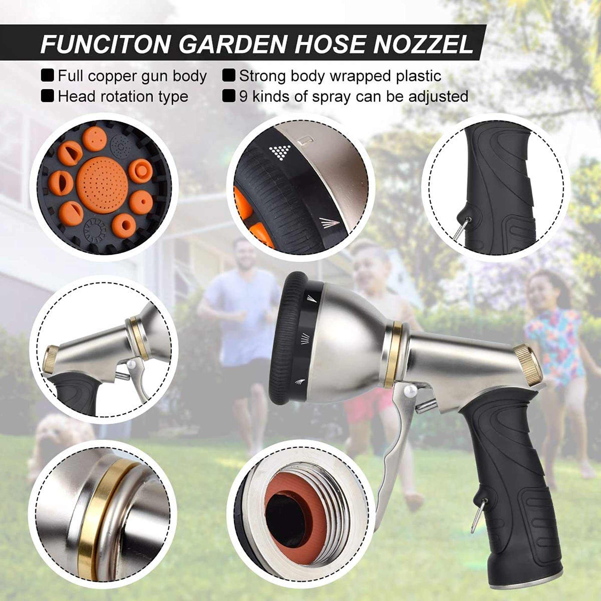 Adjustable Garden Hose Nozzles - 9 Patterns Included