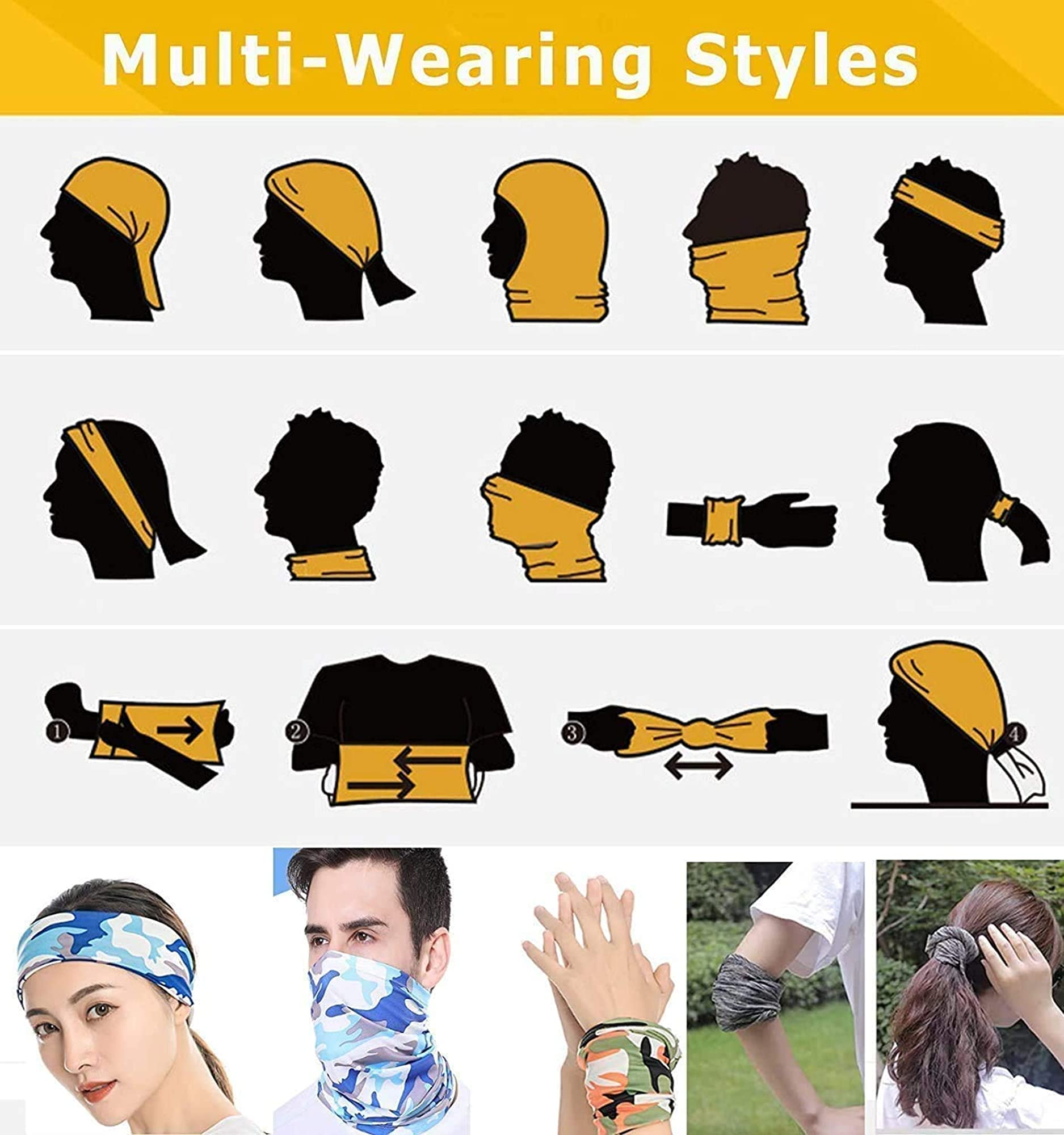 Face Scarf Sun & Dust Cover - Reusable Sports-Headbands Neck Gaiter