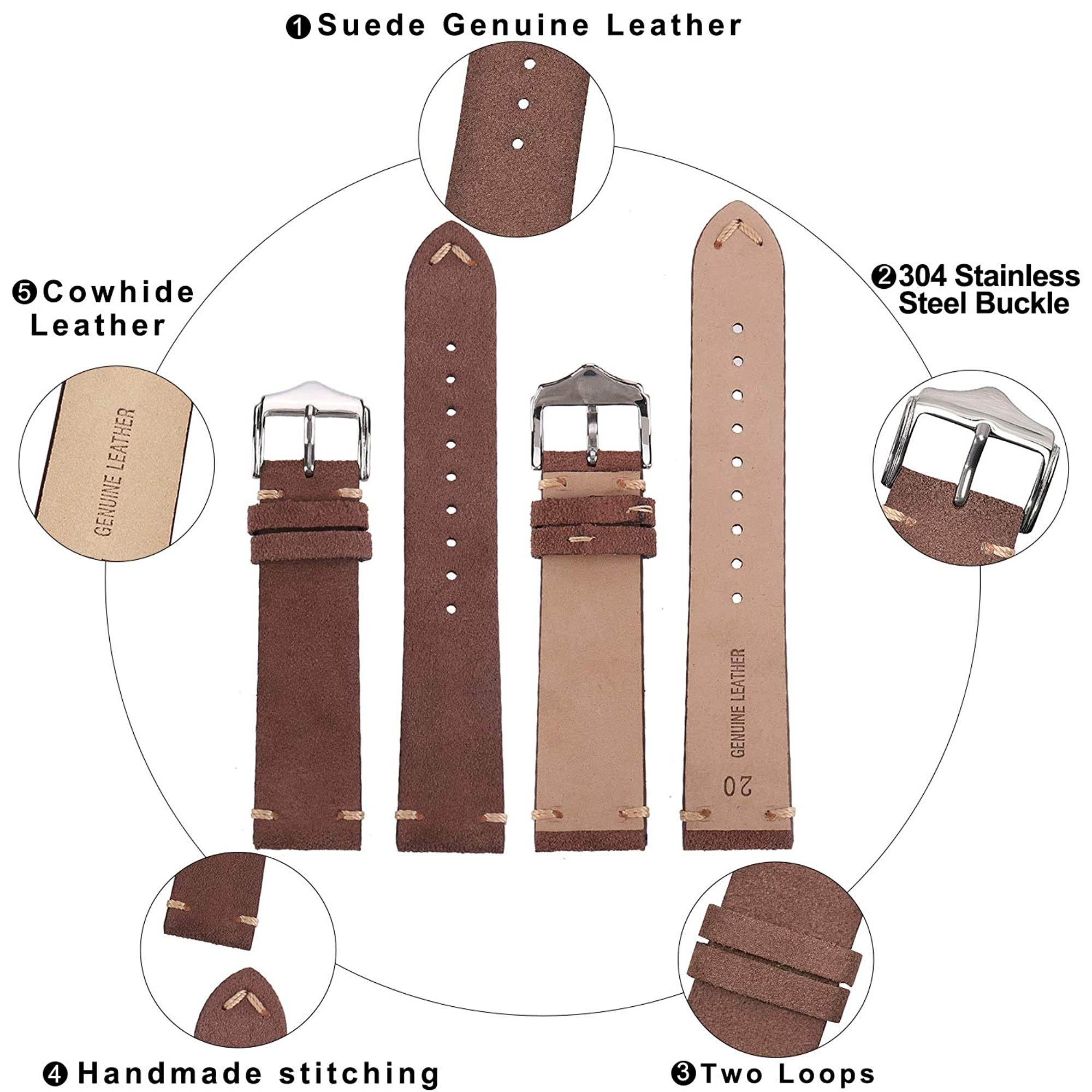 Vintage Leather Watch Bands For Men
