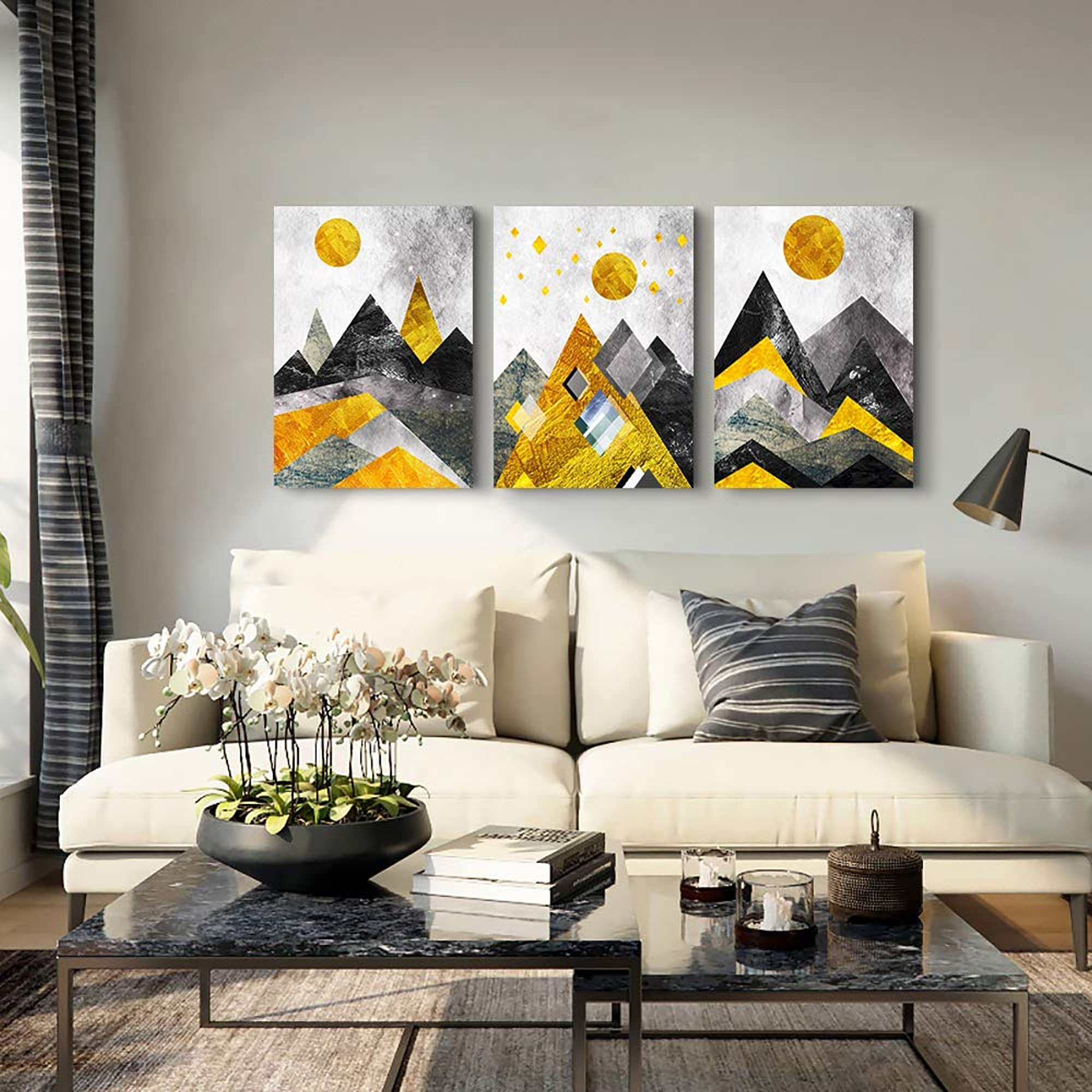 Abstract Geometry Mountains 3 Piece Wall Art