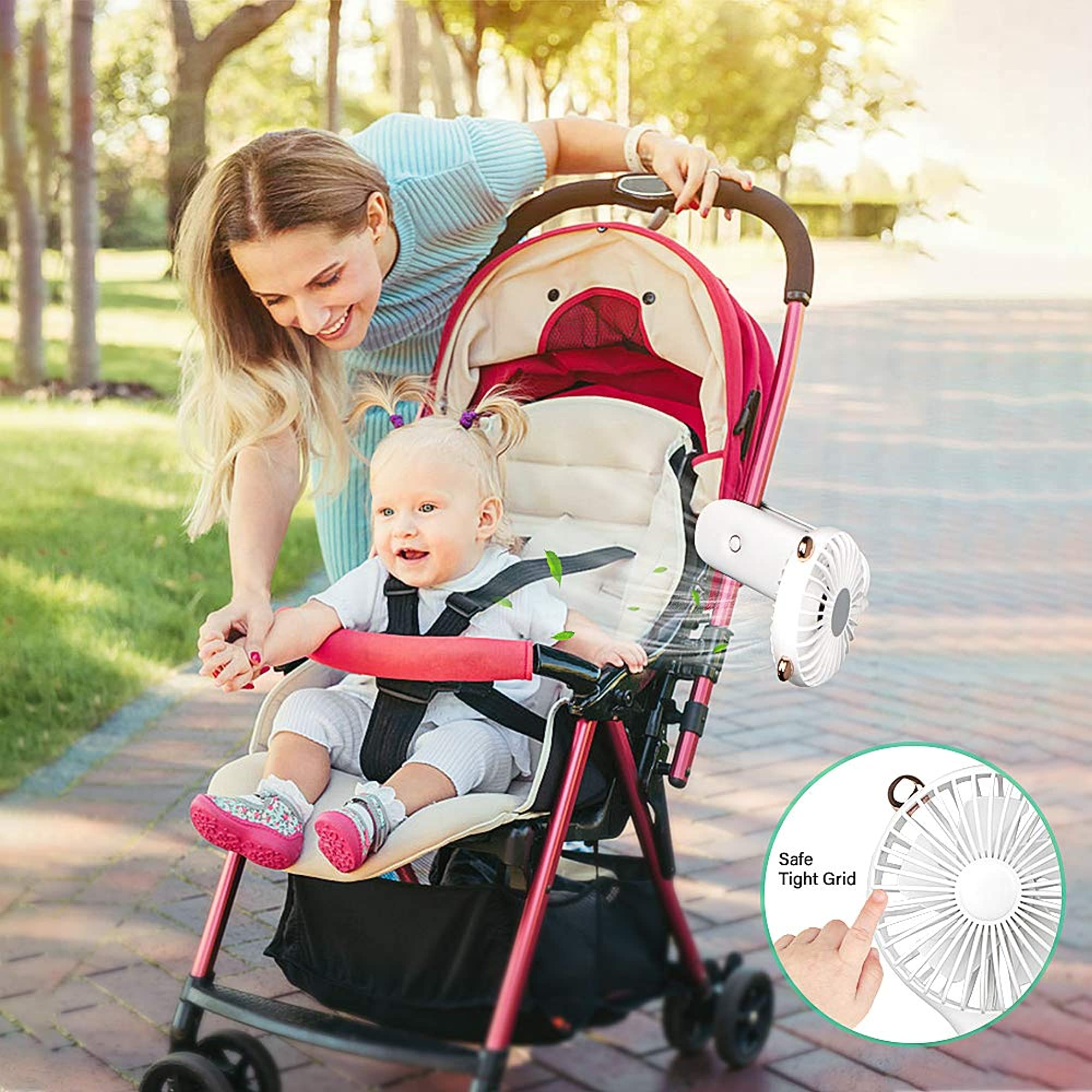 Usb Rechargeable Portable Clip-On Stroller Fan