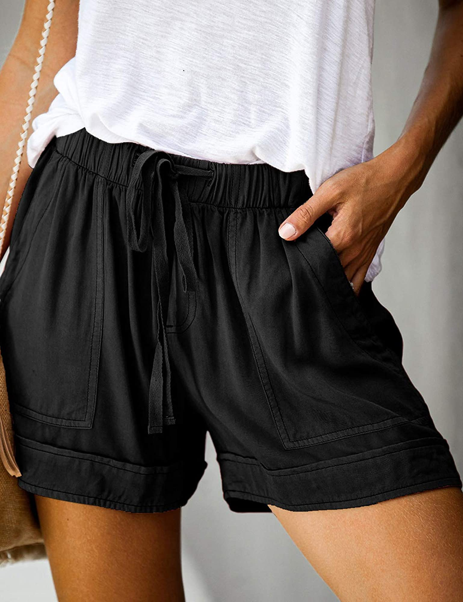 Women's Loose Fit Elastic Waist Band Shorts