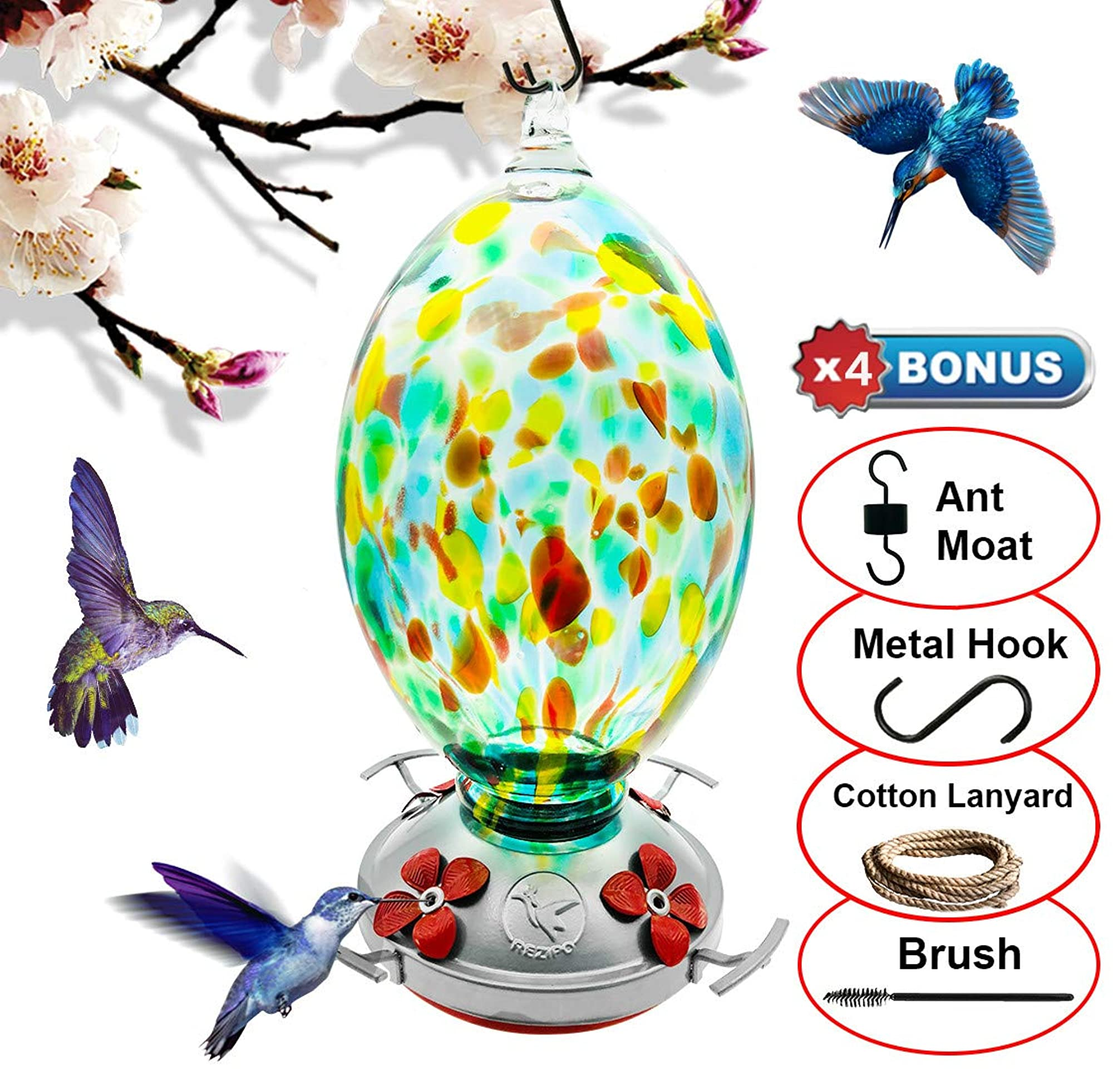 Hummingbird Feeder With Wires And Hooks - Hand Blown Glass - 38 Ounces