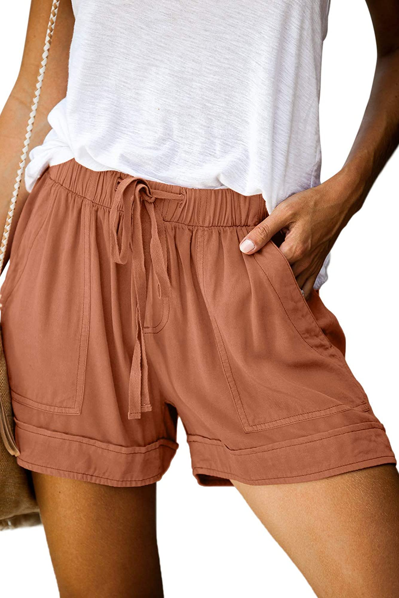 Drawstring Elastic Waist Comfy Pure Color Short For Women