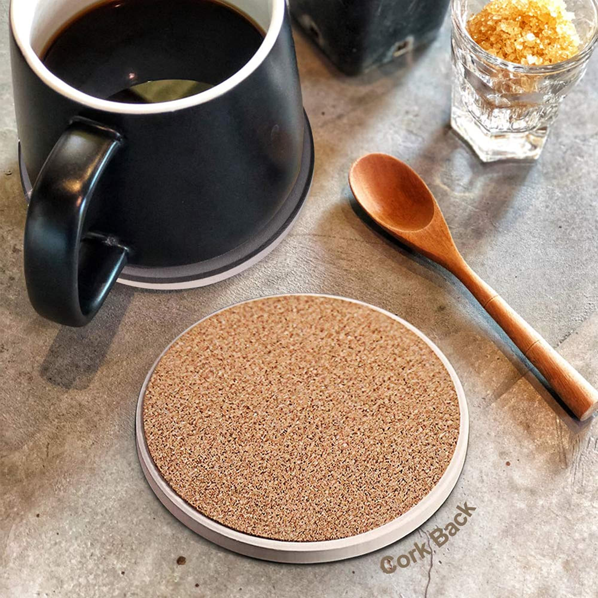 Ceramic Coaster Set With Metal Holder Stand