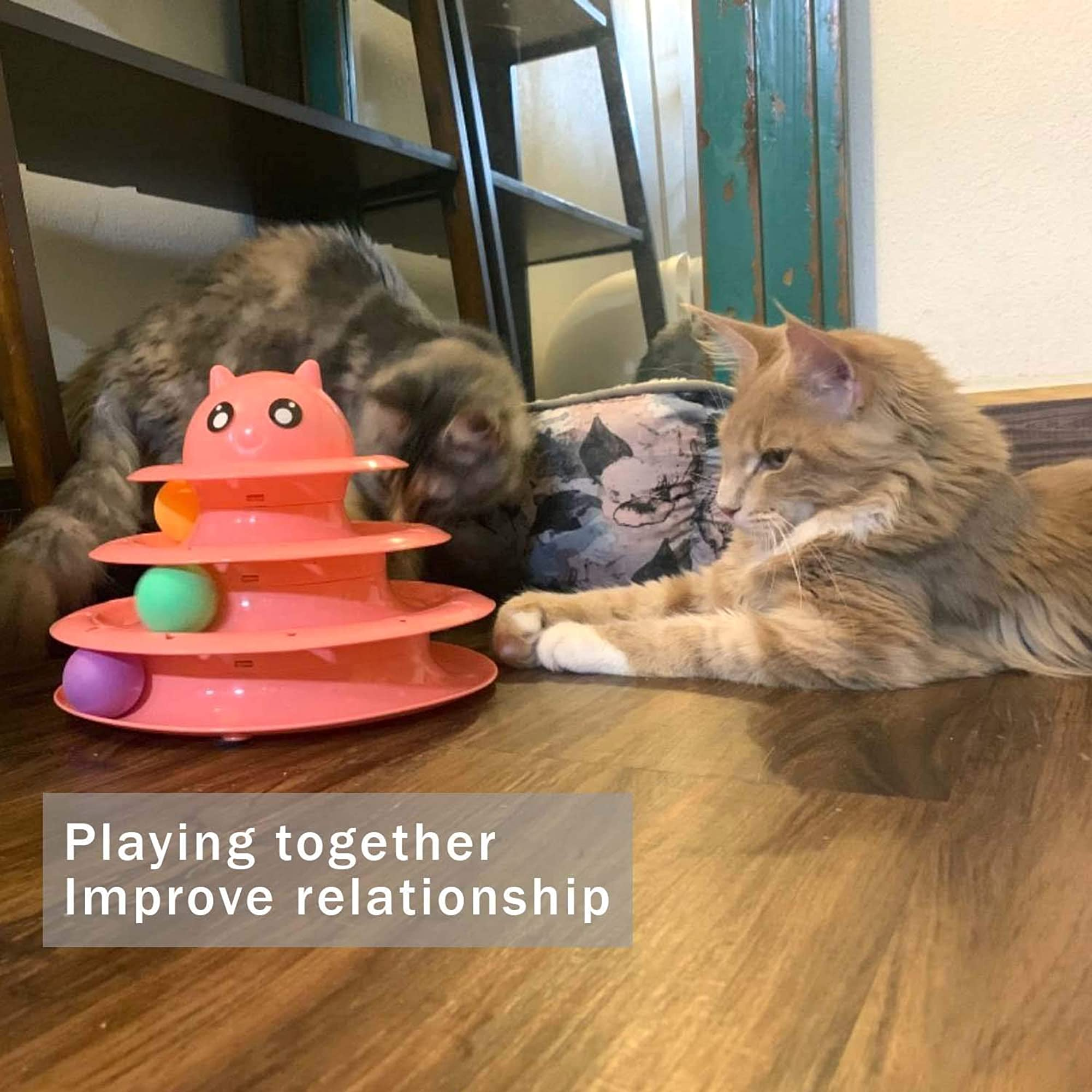 Cat Toy - 3 Level Towers Tracks Roller With Six Colorful Ball