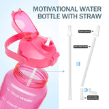 Half Gallon Leak Proof Tritan Water Bottle With Time Marker And Straw Lid