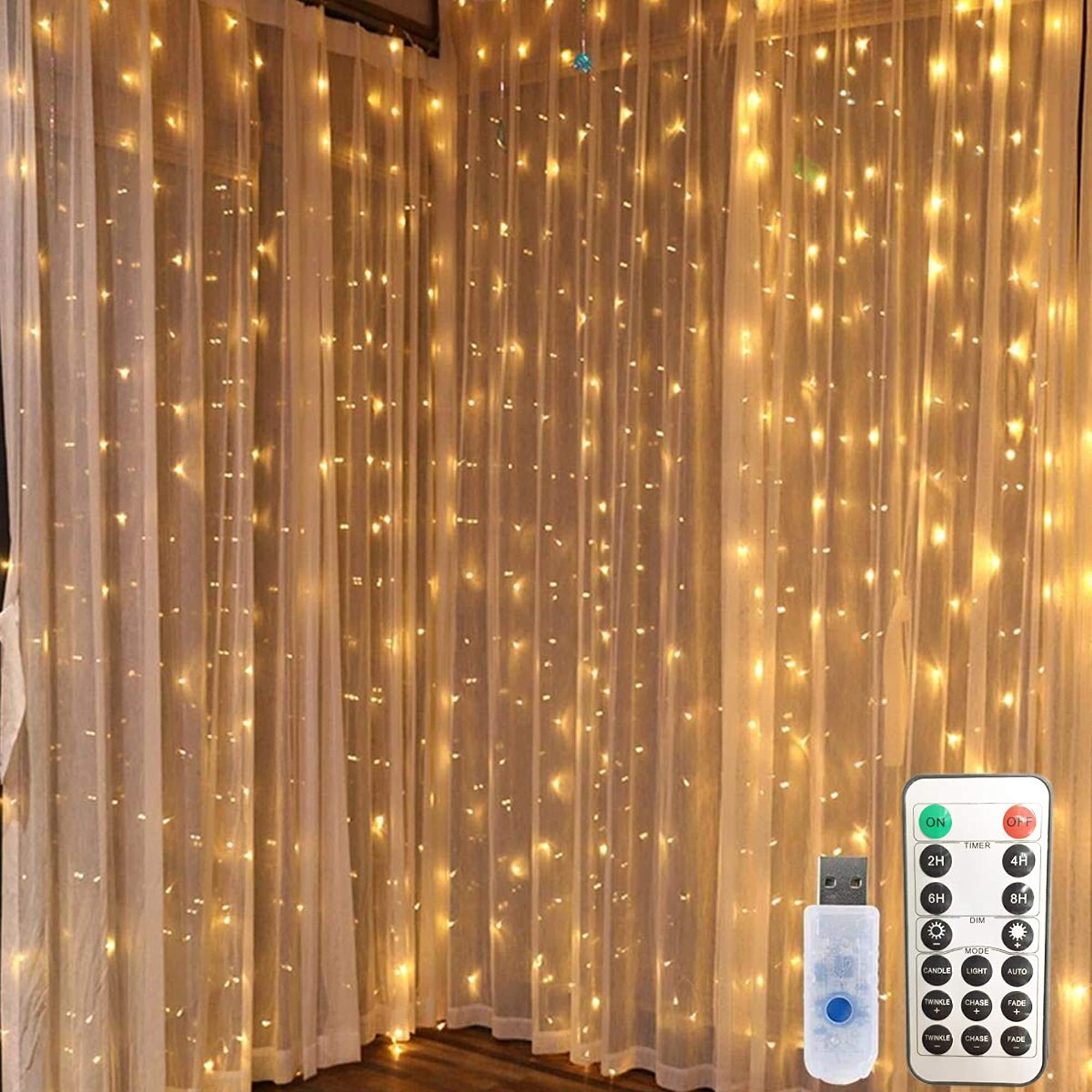 USB Plug-in Window Curtain String Lights
