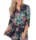 Women's 3/4 Roll Sleeve V Neck Tunic Tops