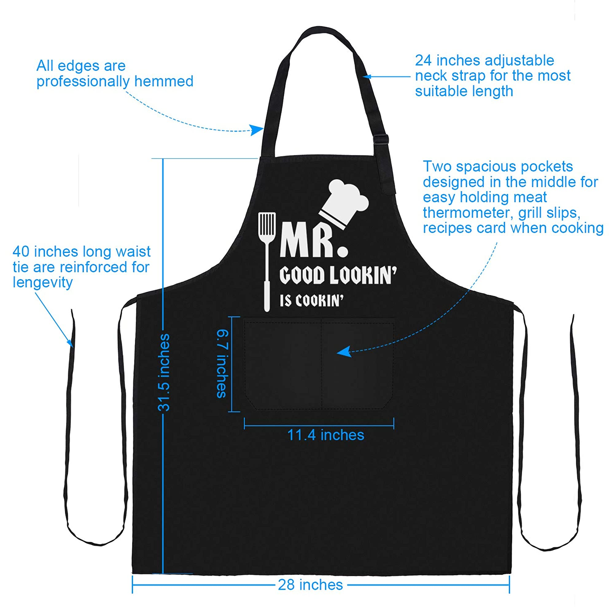 Apron For Cooking With Adjustable Strap