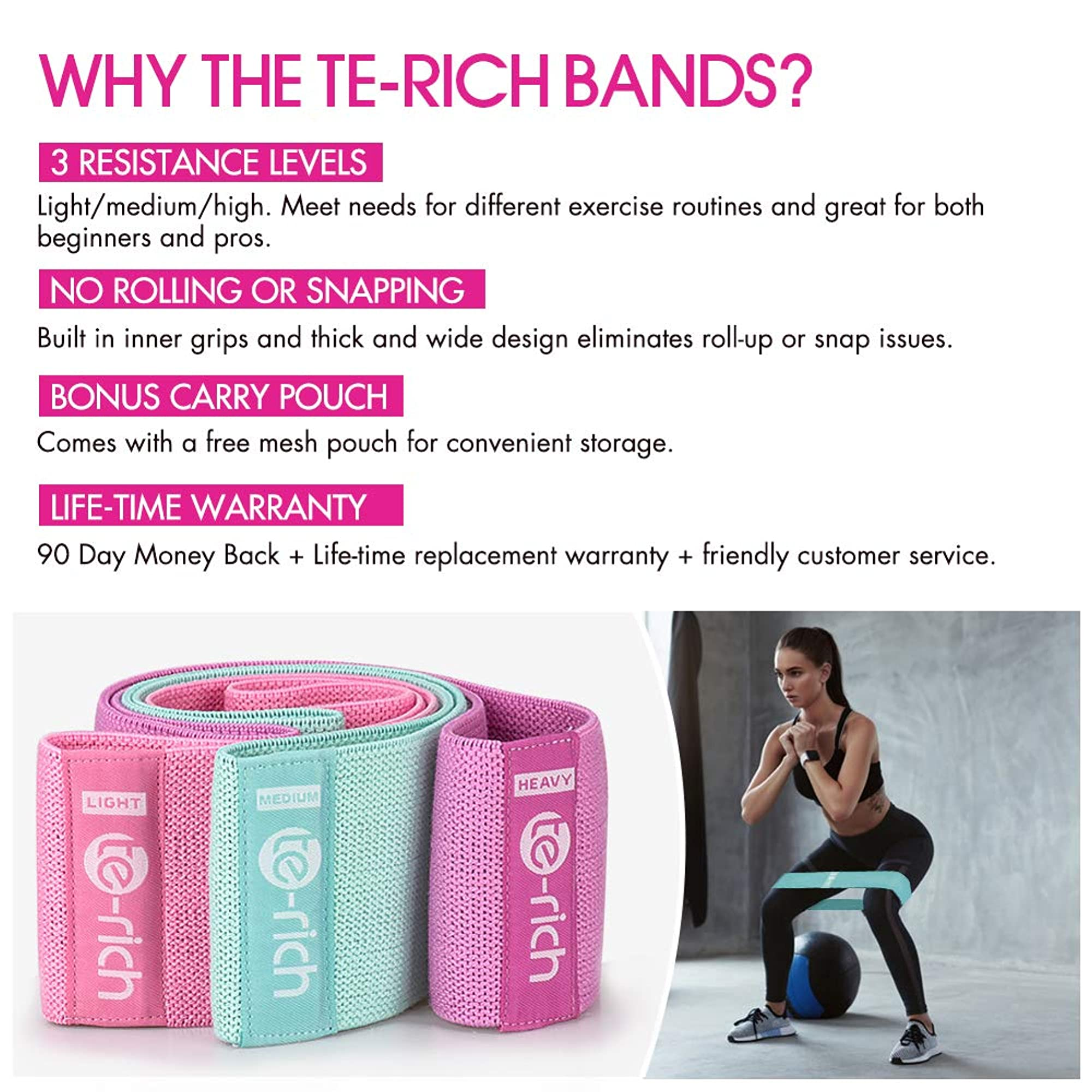 3 Set Of Resistance Bands - Thick, Wide & Non-Slip