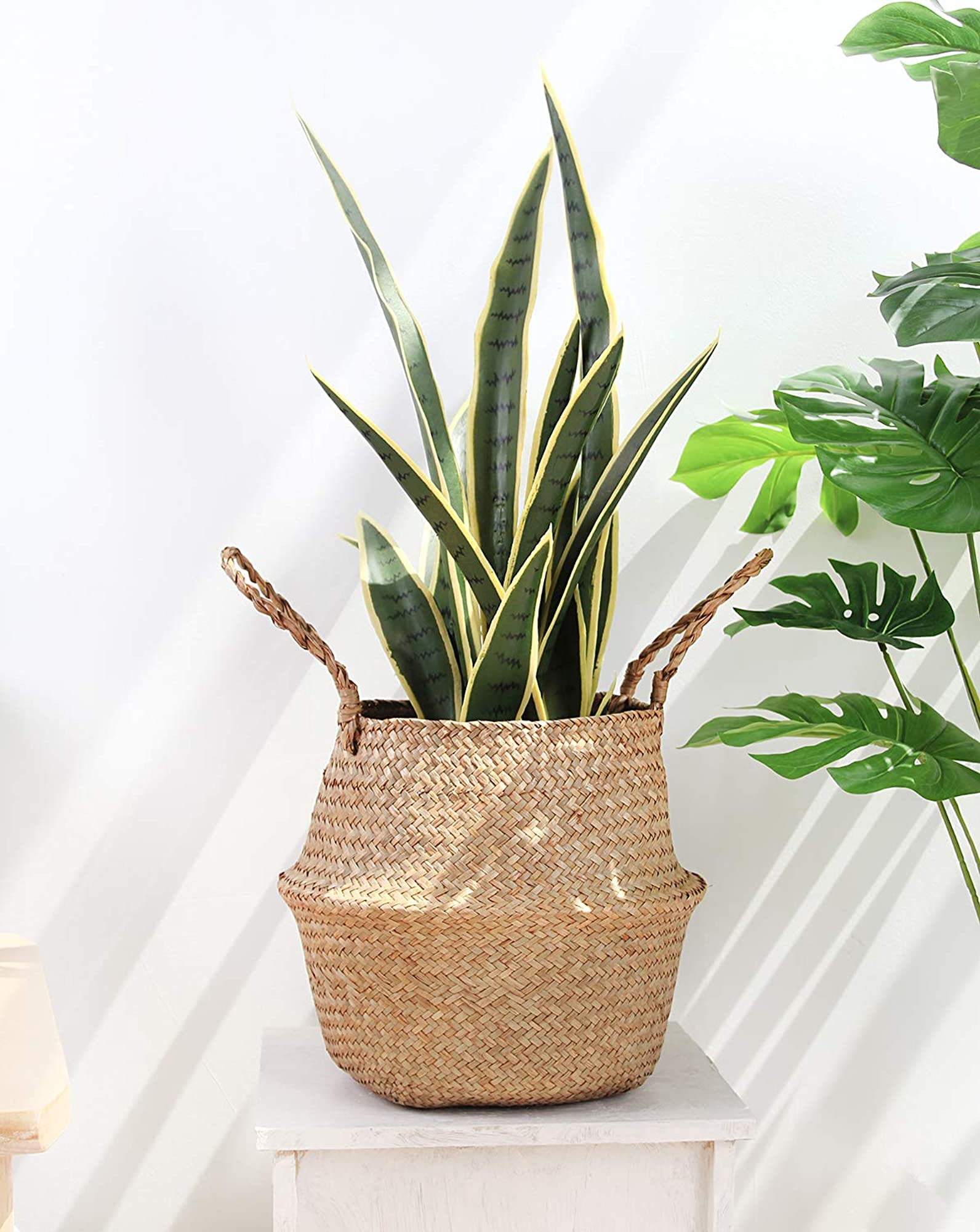 Woven Seagrass Belly Basket For Storage   Plant Pot Basket