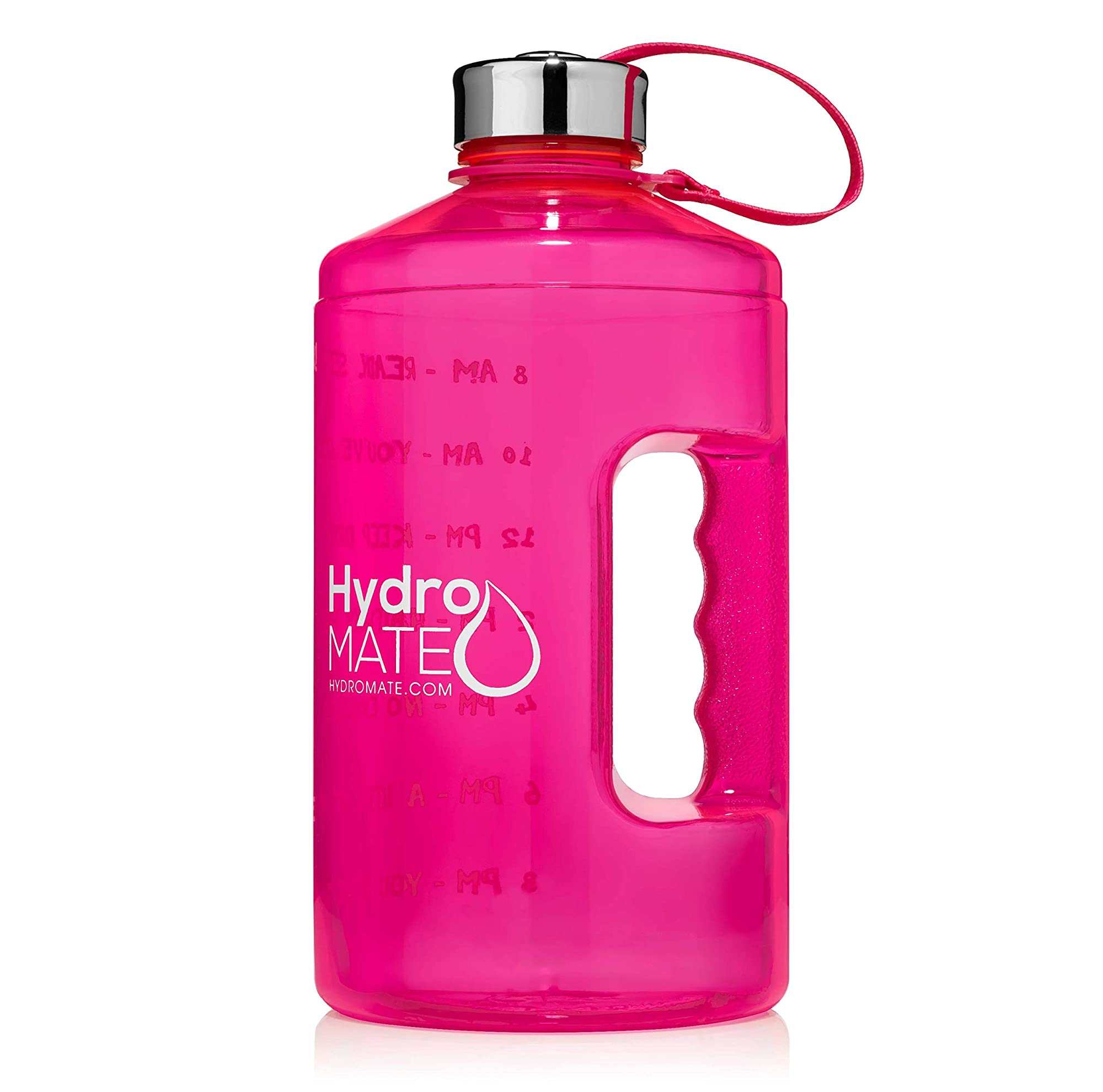 Leak Proof Large Water Bottle With Time Marker And An Ergonomic Handle