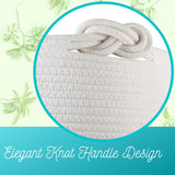 "Cylindrical Woven Cotton Rope Storage Basket - 15"" X 14.2"""