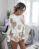Women?S Tie-Dye Printed Two-Piece Pajamas Set Long Sleeve Tops With Shorts