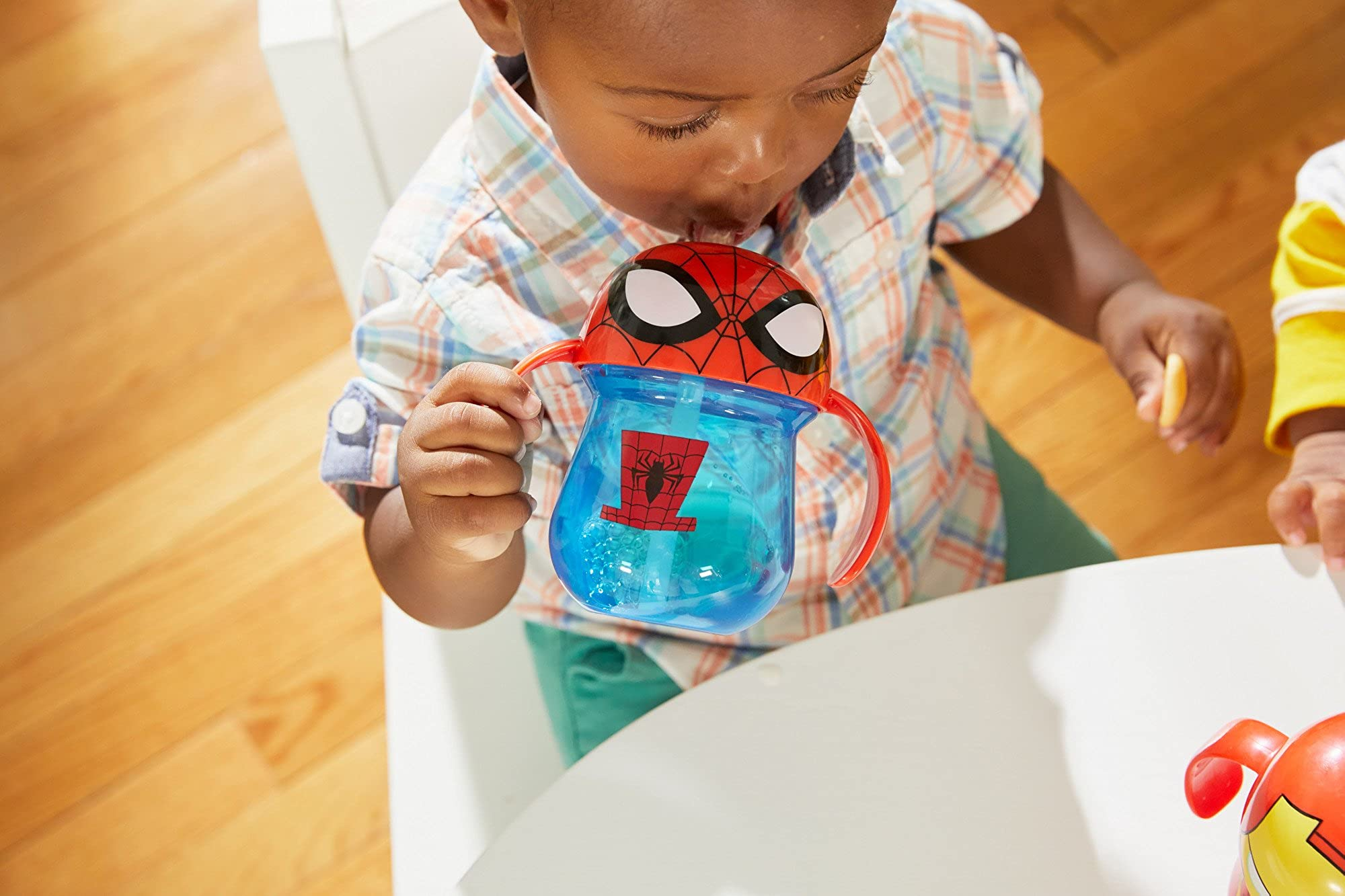 Marvel Spider-Man Straw Cup With Handles, 7 Ounce