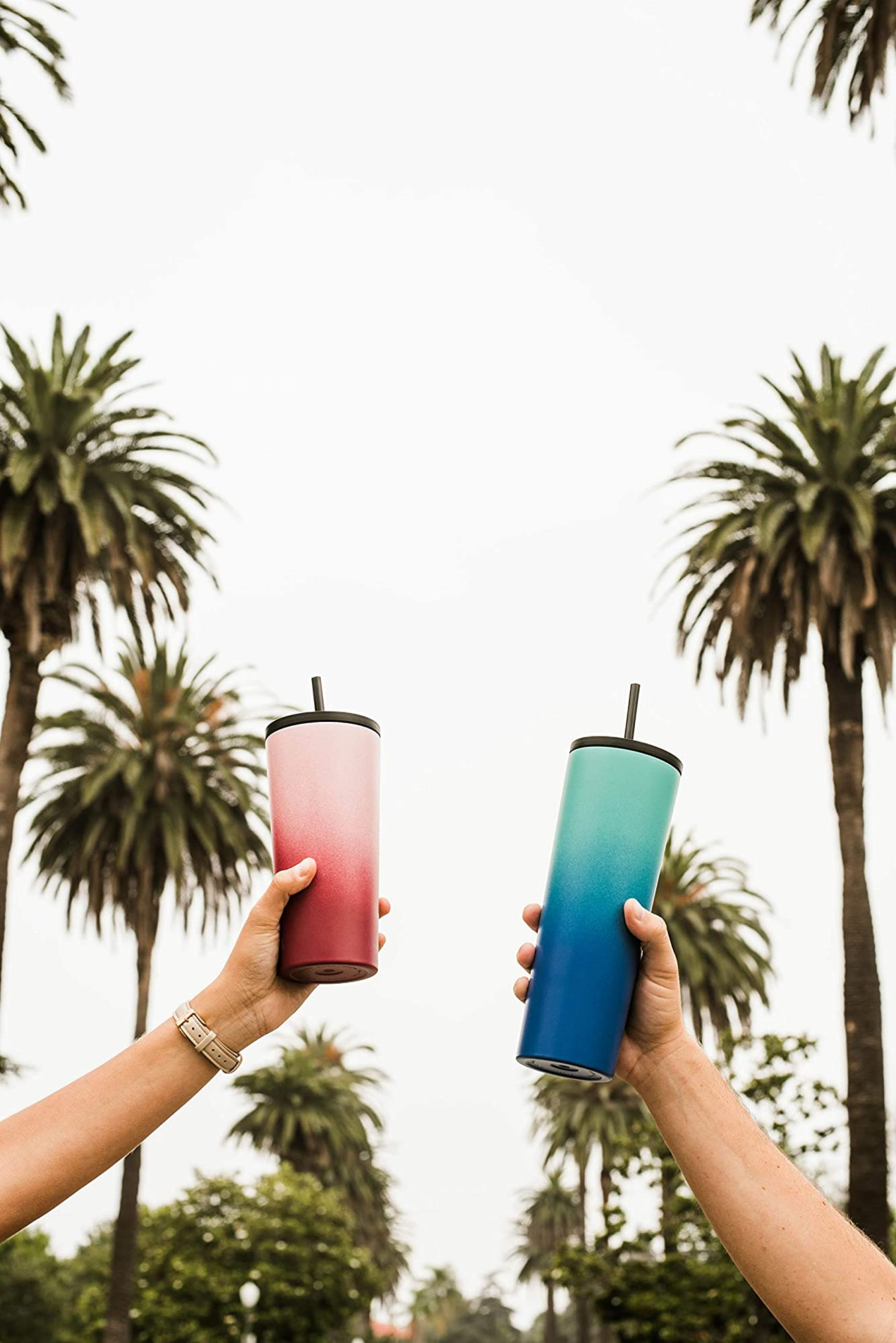 Insulated Stainless Steel Travel Tumbler With Straw And Flip Lids
