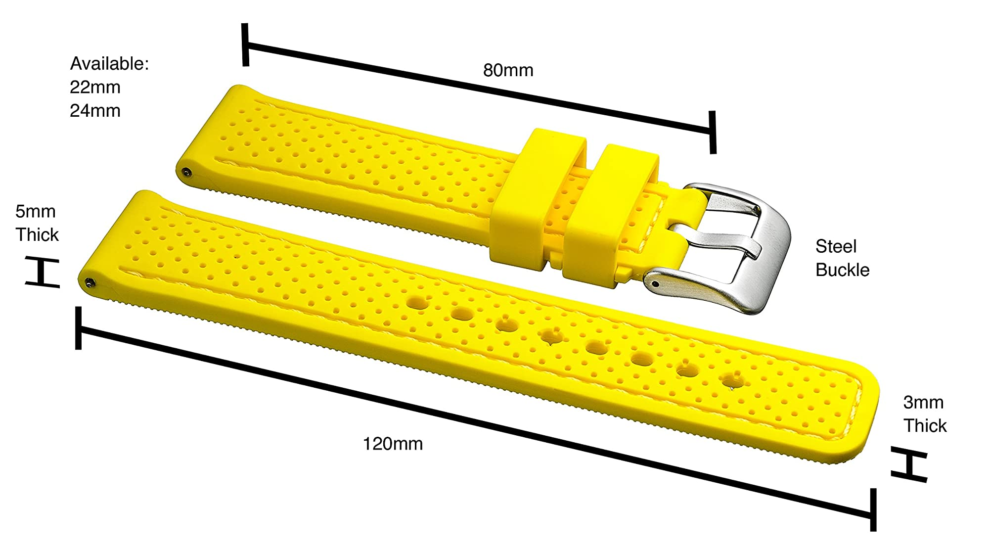 Waterproof Silicone Watch Band Strap