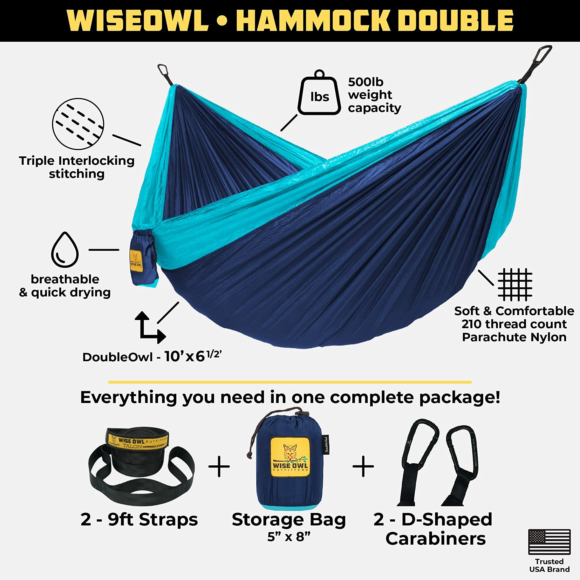 Portable Camping Hammock With Tree Straps