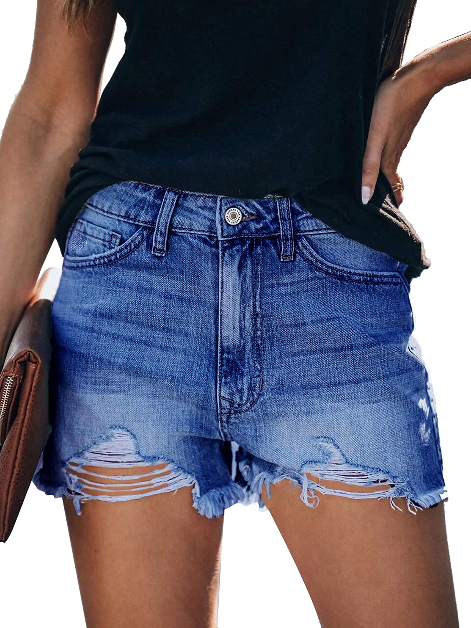 Casual High Rise Frayed Stretch Denim Jean Shorts For Women