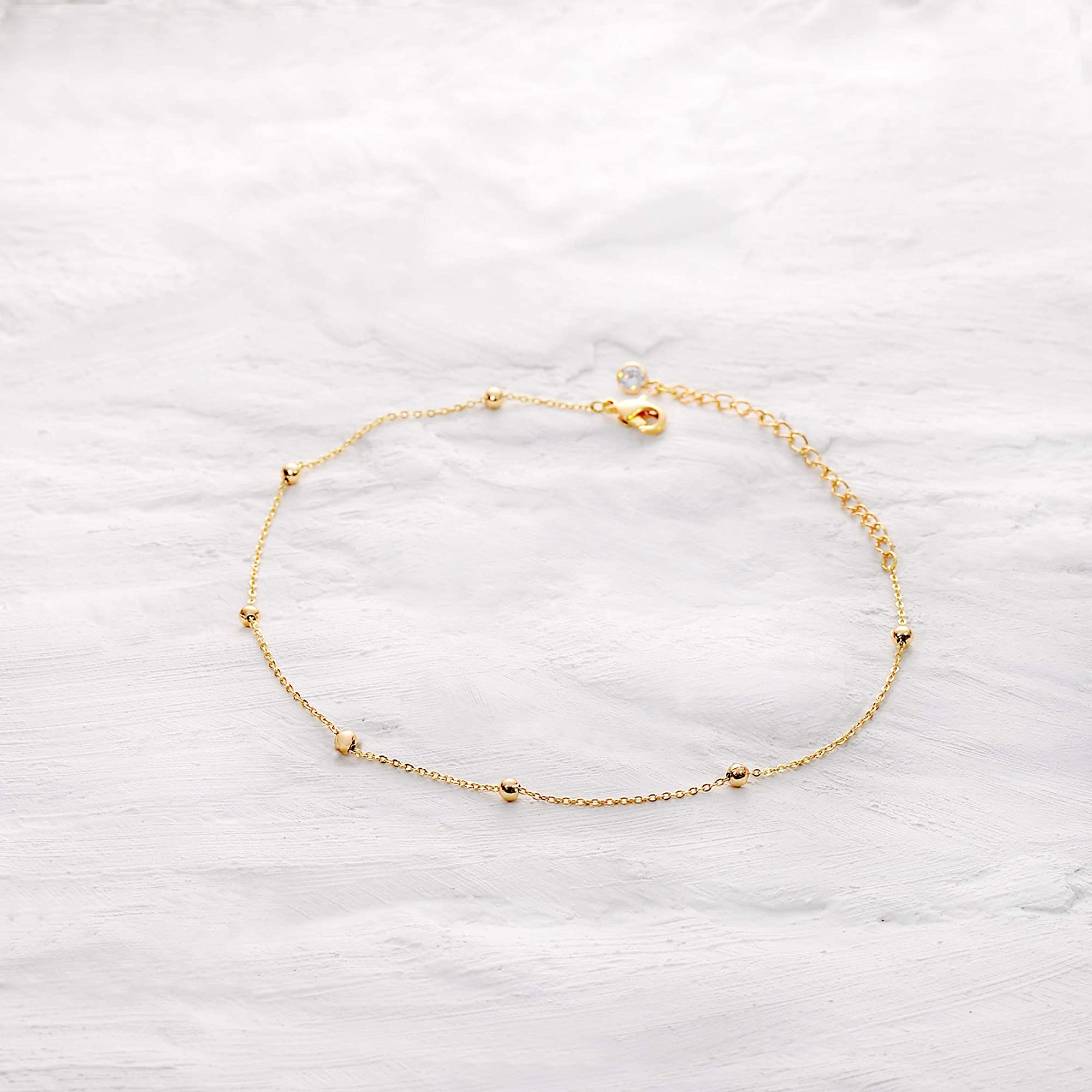 Gold Beaded Chain Anklet For Women