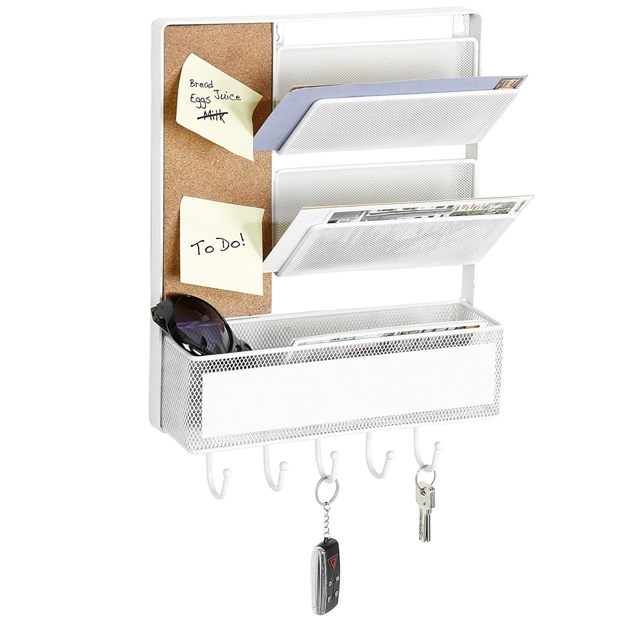 White Metal Wall Mounted Organizer