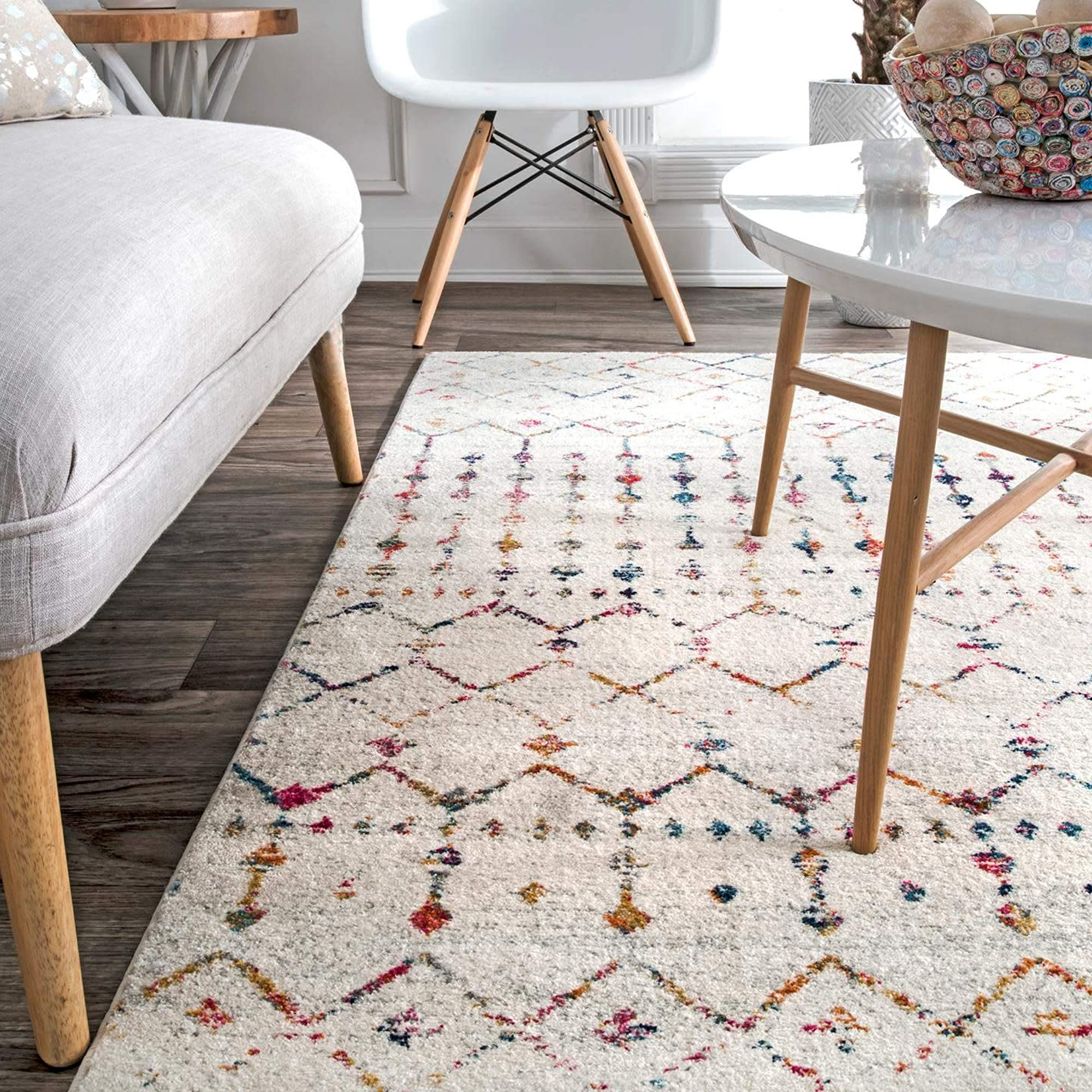 Synthetic Ivory Blythe Area Rug