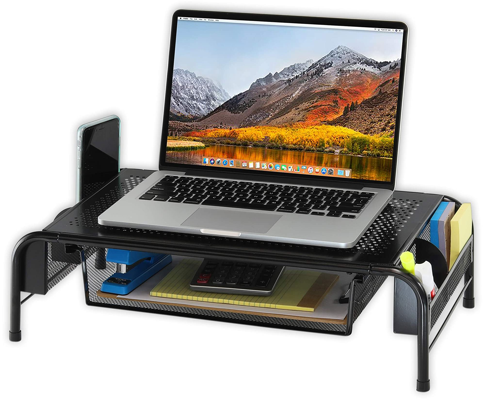 Desk Monitor Stand Riser With Organizer Drawer
