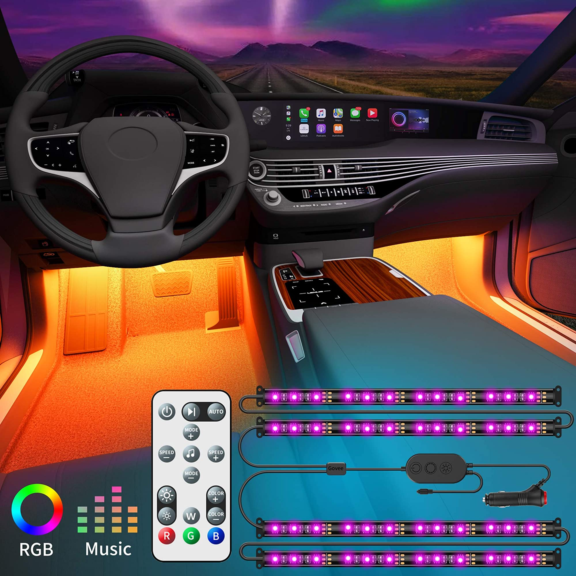 Interior Car Lights With Remote And Control Box